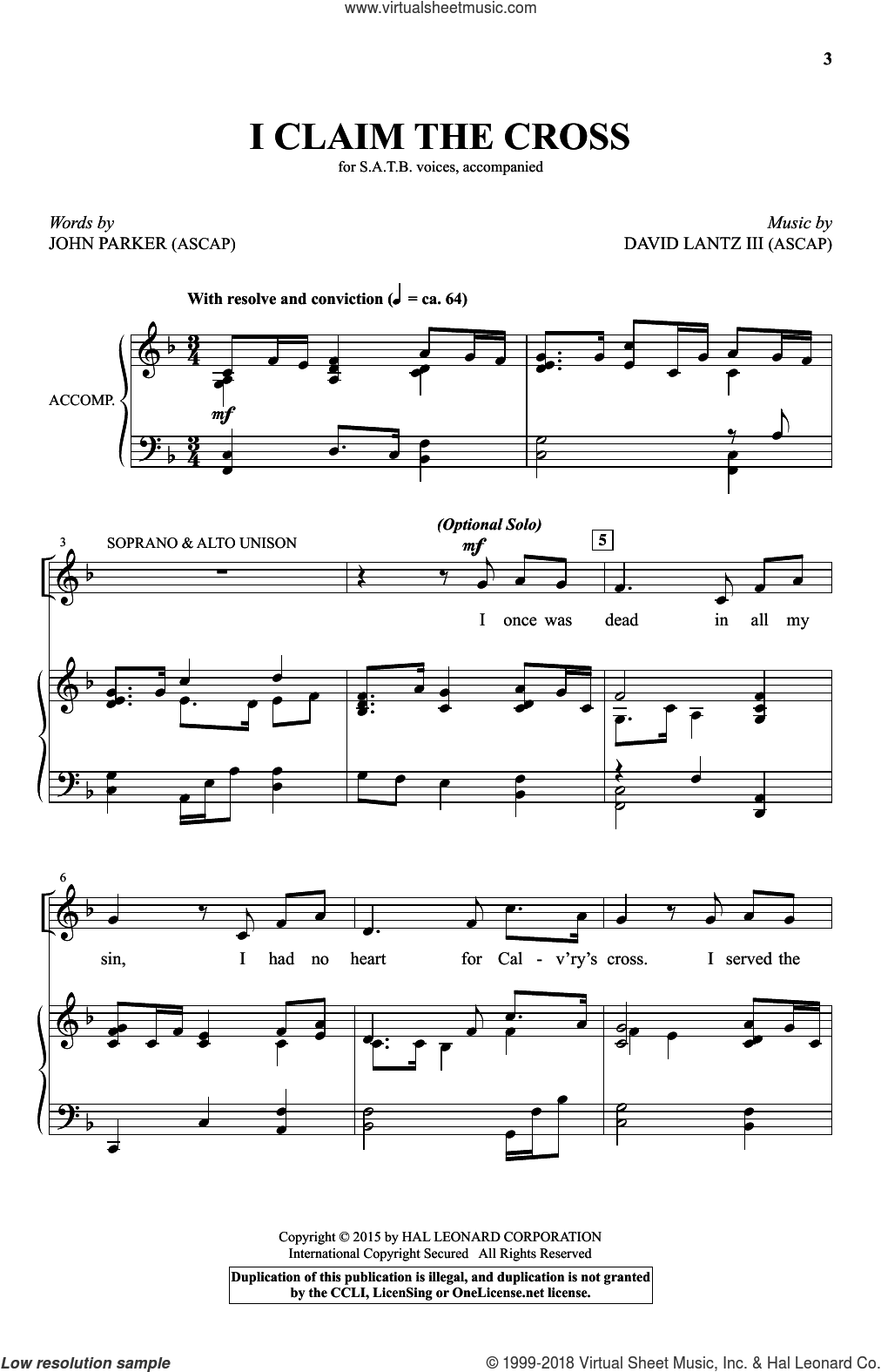 I Claim The Cross sheet music for choir (SATB) by John Parker and David Lanz. Score Image Preview.
