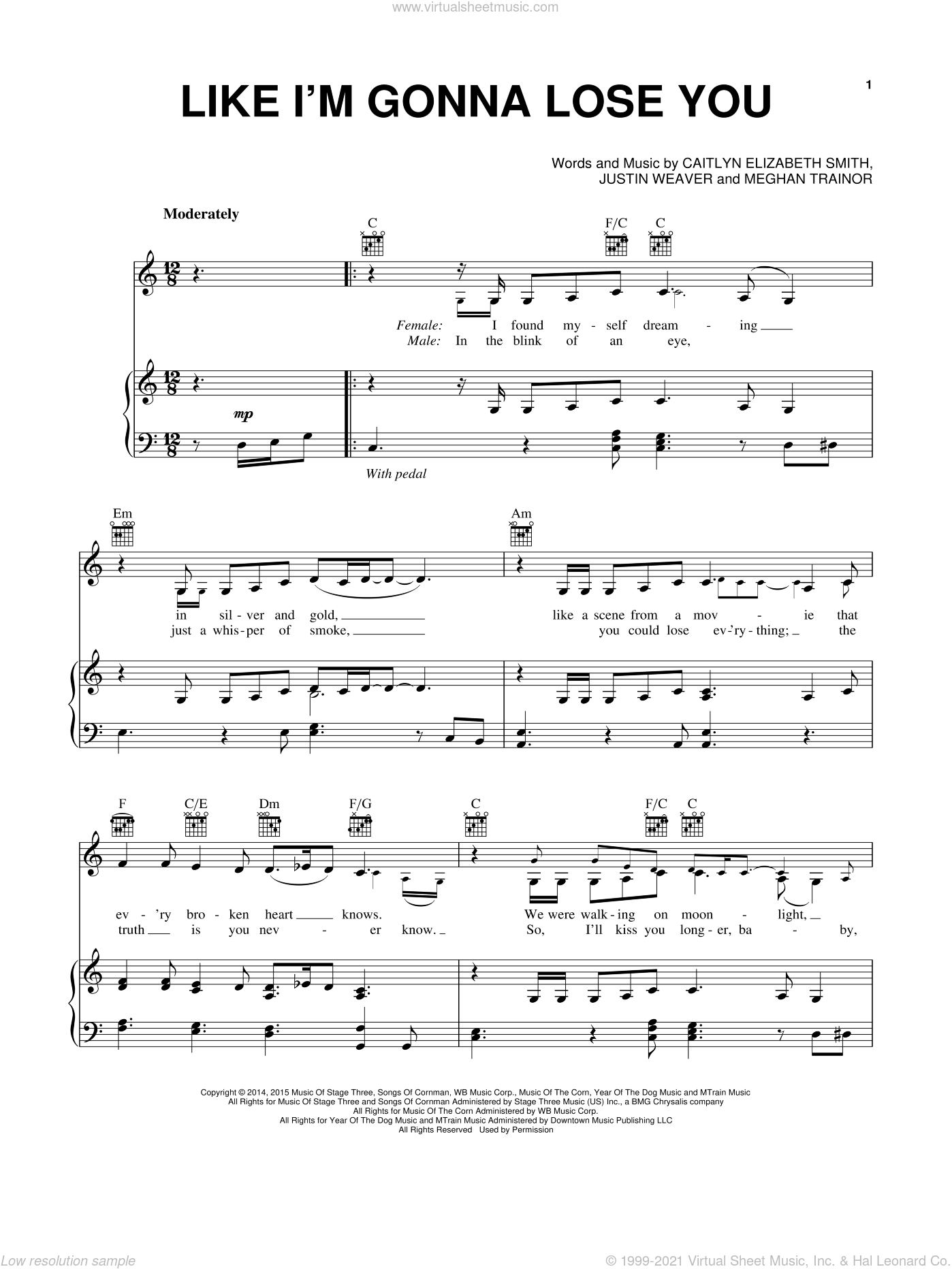 Like I'm Gonna Lose You sheet music for voice, piano or guitar by Meghan Trainor, Caitlyn Elizabeth Smith and Justin Weaver, intermediate skill level