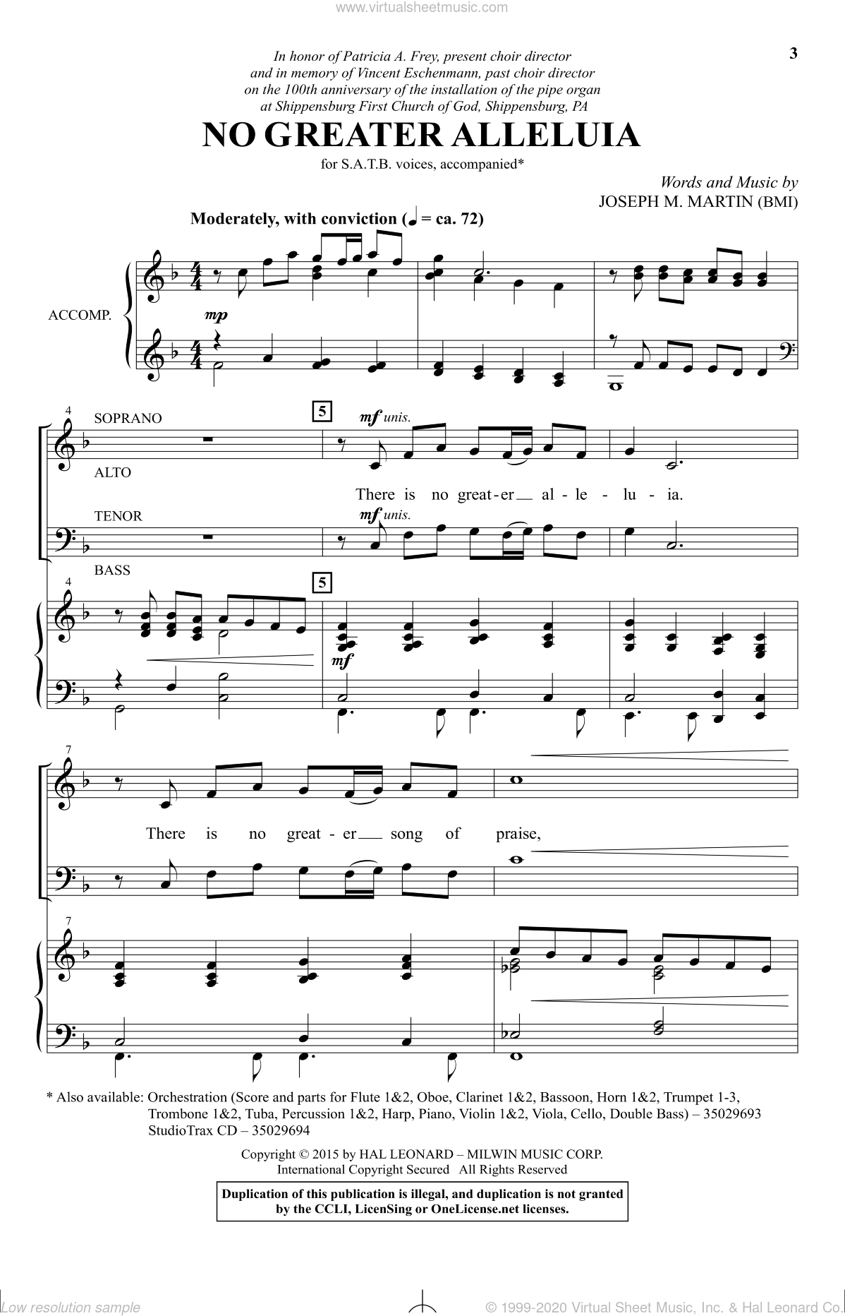 No Greater Alleluia sheet music for choir (SATB: soprano, alto, tenor, bass) by Joseph M. Martin, intermediate. Score Image Preview.