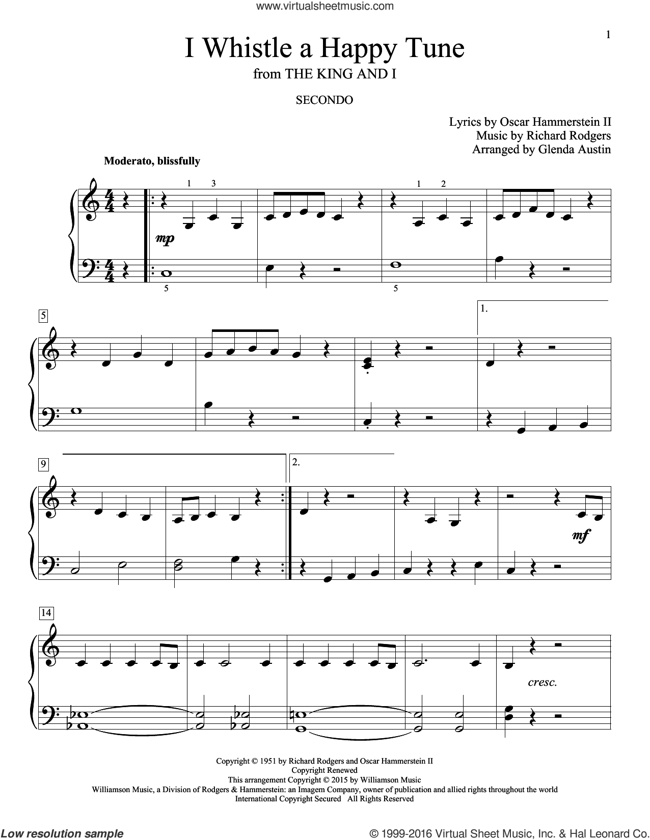 I Whistle A Happy Tune sheet music for piano four hands (duets) by Richard Rodgers, Glenda Austin and Oscar II Hammerstein. Score Image Preview.