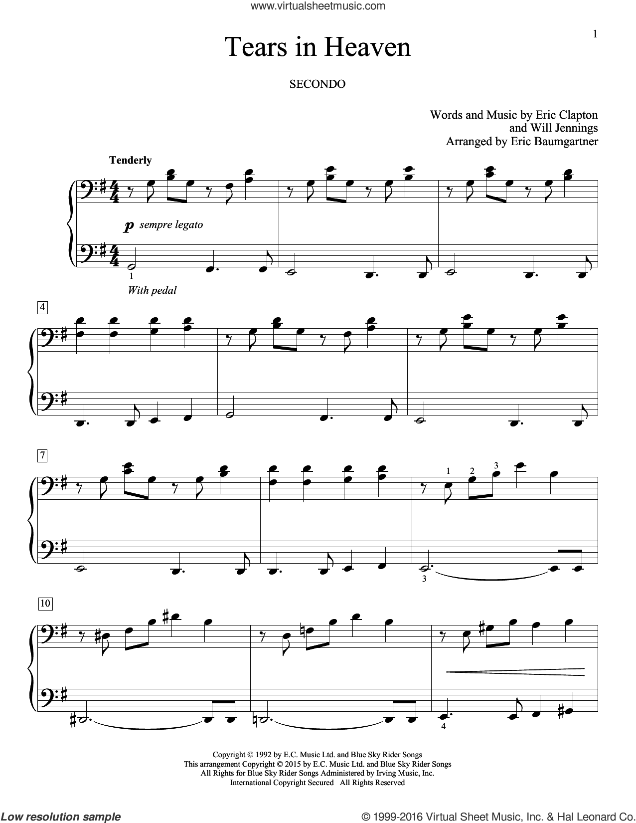 Tears In Heaven sheet music for piano four hands by Eric Clapton, Eric Baumgartner and Will Jennings, intermediate skill level