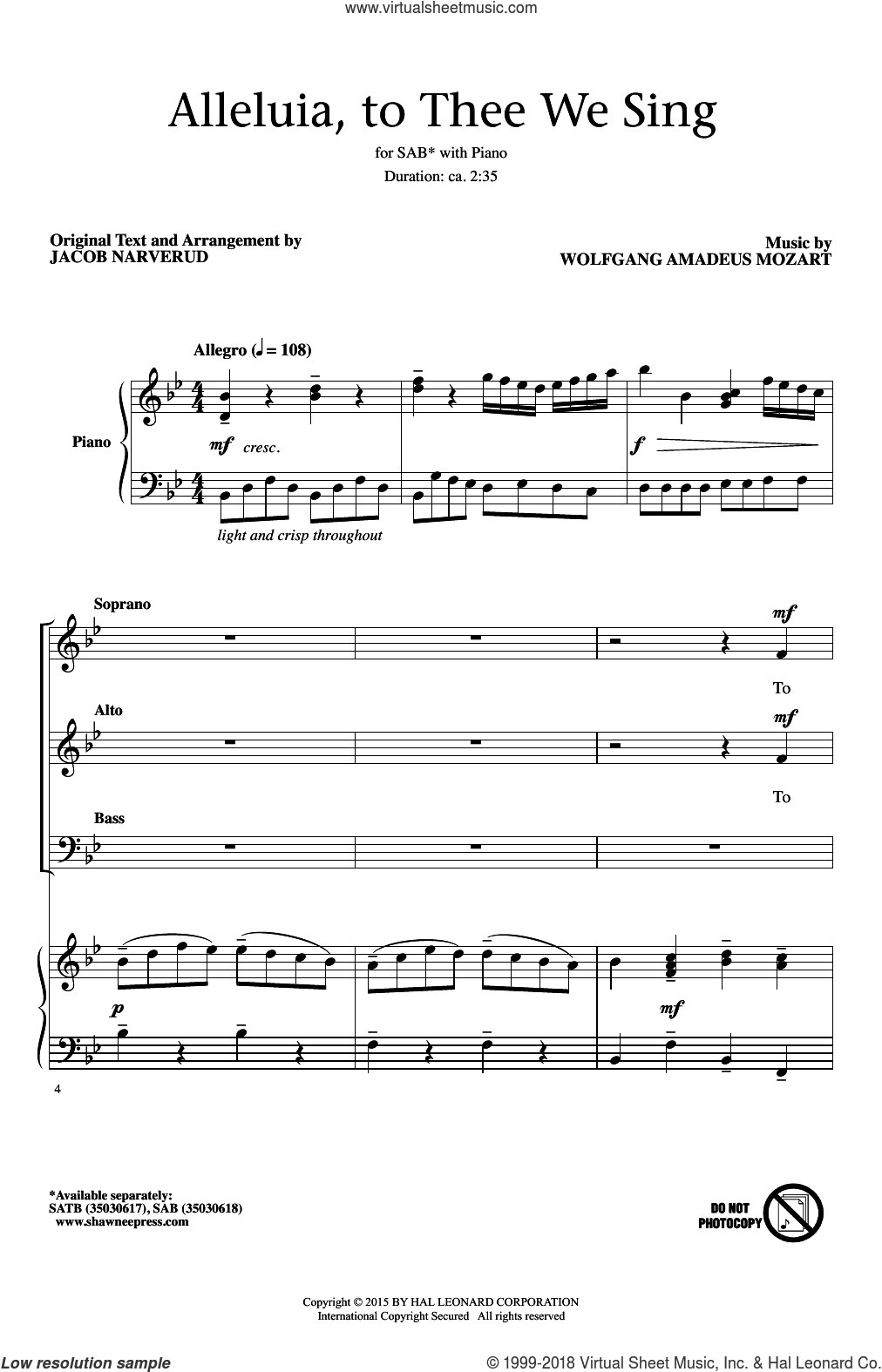 Alleluia, To Thee We Sing sheet music for choir (SAB) by Jacob Narverud and Wolfgang Amadeus Mozart. Score Image Preview.