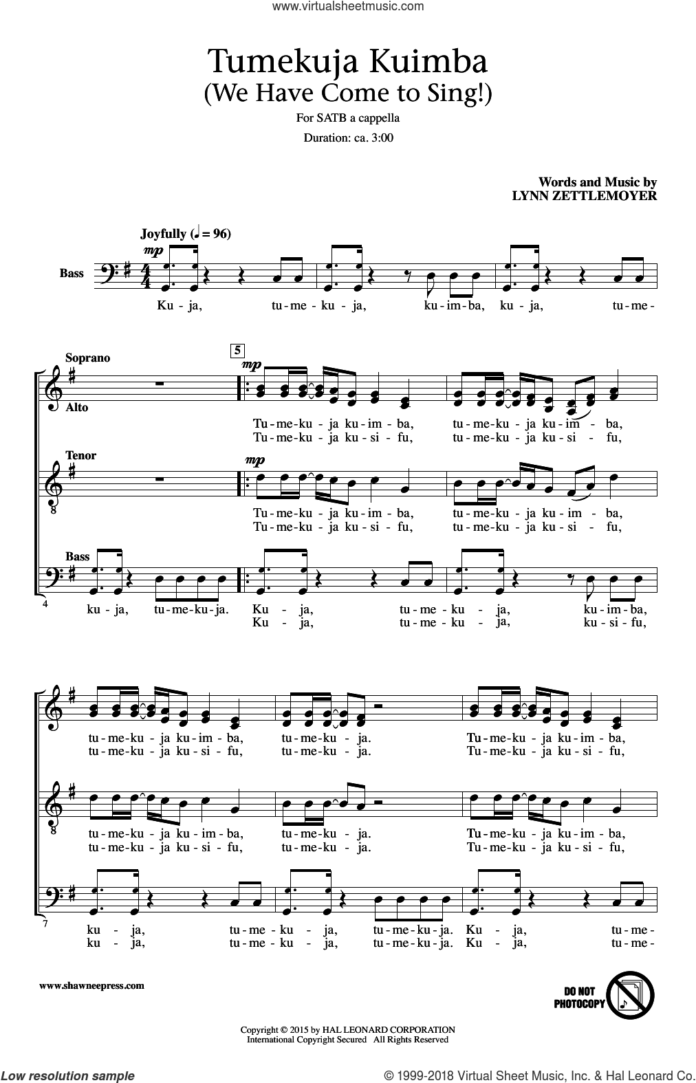 Tumekuja Kuimba (We Have Come To Sing!) sheet music for choir (SATB: soprano, alto, tenor, bass) by Lynn Zettlemoyer, intermediate. Score Image Preview.