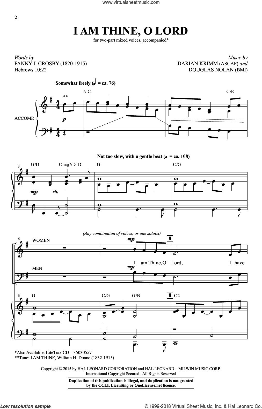I Am Thine, O Lord sheet music for choir (duets) by Douglas Nolan, Darian Krimm and Fanny J. Crosby. Score Image Preview.