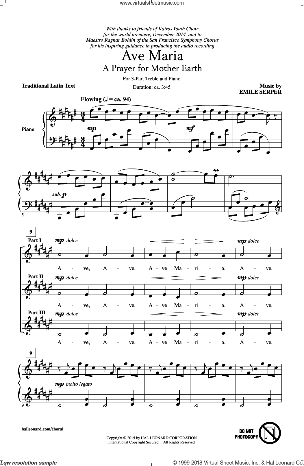 Ave Maria sheet music for choir (3-Part Treble) by Emile Serper and Miscellaneous, intermediate skill level