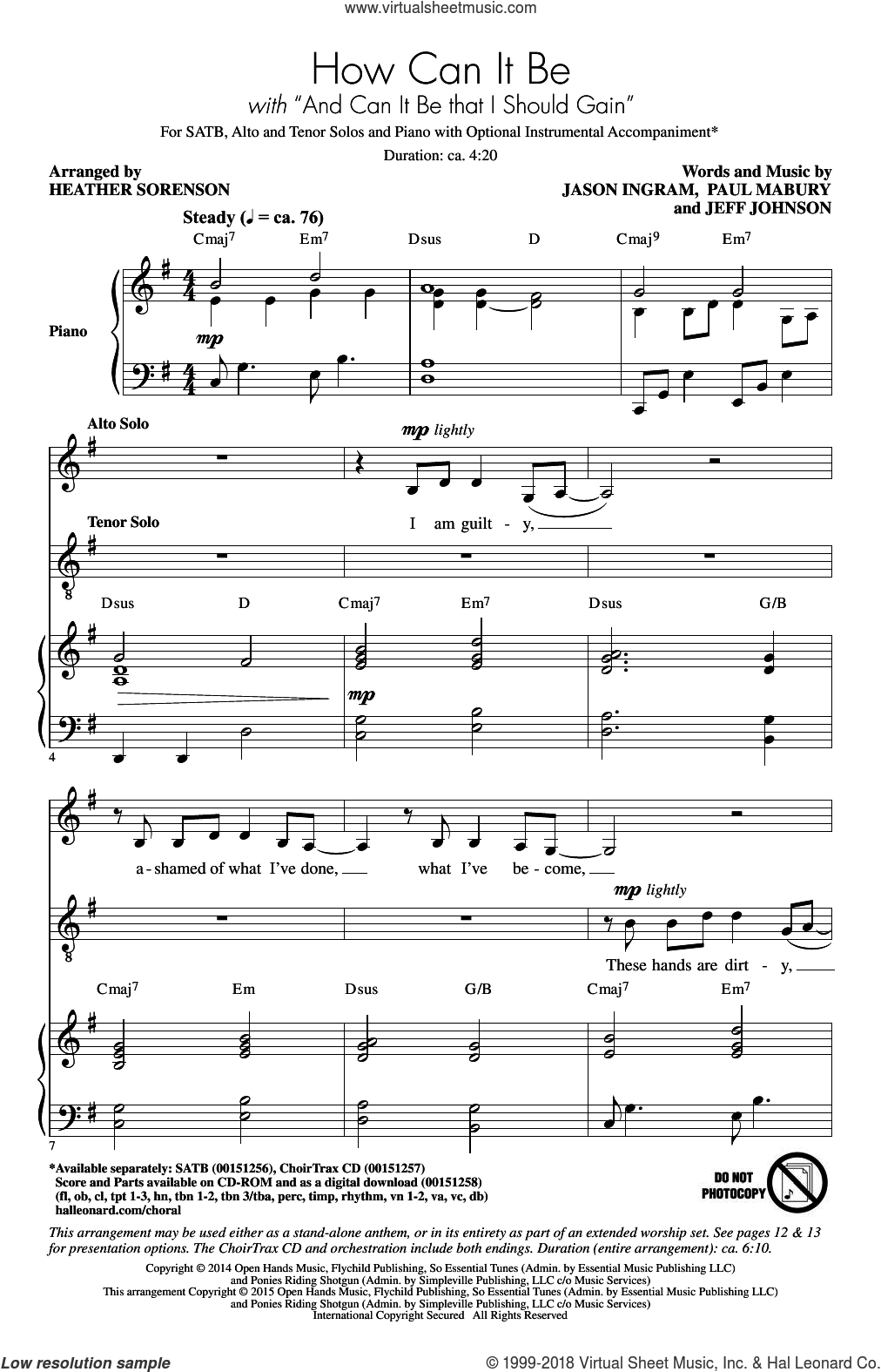 And Can It Be That I Should Gain sheet music for choir (SATB) by Thomas Campbell, Heather Sorenson, Jason Ingram, Lauren Daigle and Charles Wesley. Score Image Preview.