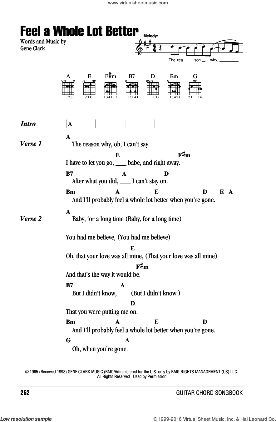 Feel A Whole Lot Better sheet music for guitar (chords) by Gene Clark, intermediate skill level