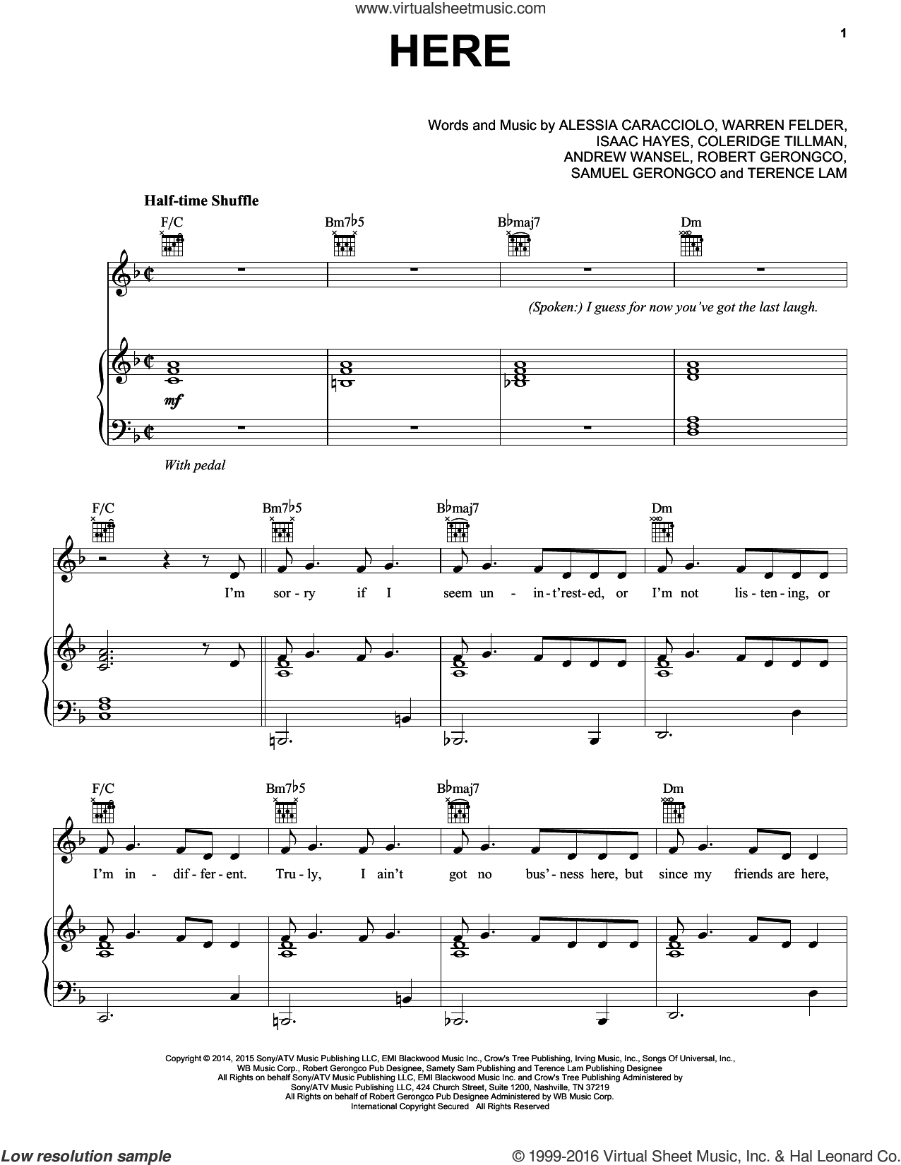 Here sheet music for voice, piano or guitar by Alessia Cara, Andrew Wansel, Coleridge Tillmam, Isaac Hayes, Robert Gerongco, Samuel Tigley, Terence Lam and Warren Felder, intermediate skill level