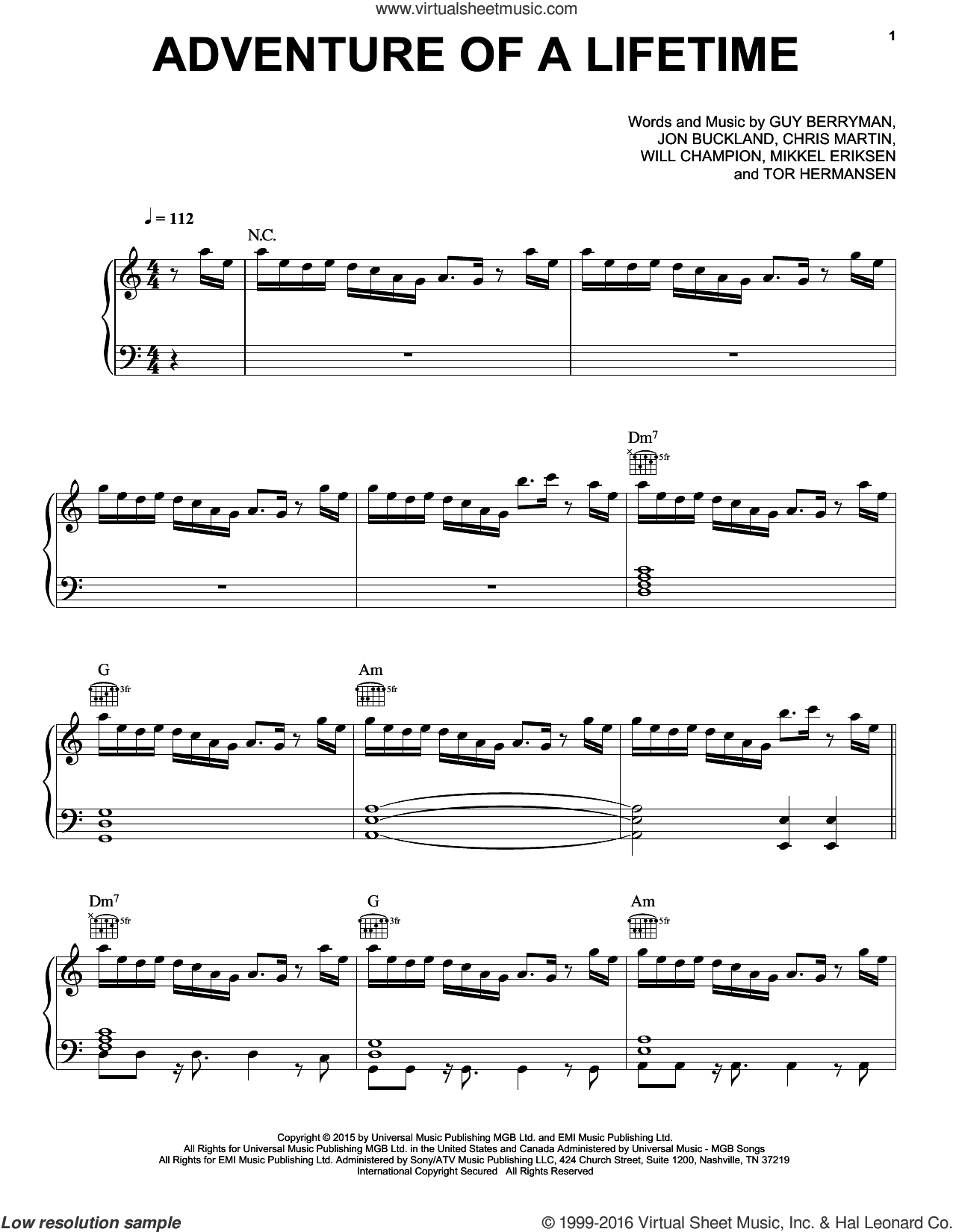 Adventure Of A Lifetime sheet music for voice, piano or guitar by Chris Martin, Coldplay, Guy Berryman, Jon Buckland, Mikkel Eriksen, Tor Erik Hermansen and Will Champion, intermediate skill level