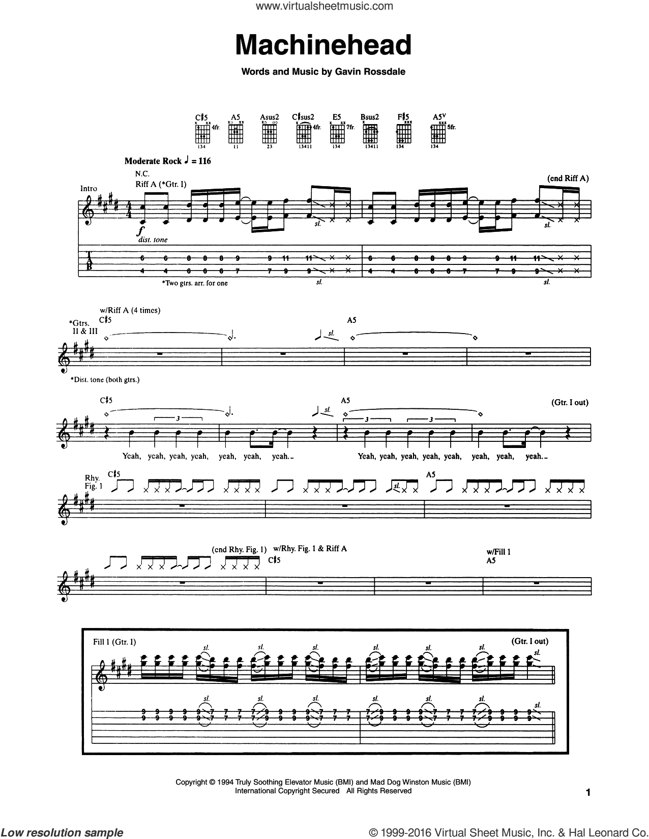 Machinehead sheet music for guitar (tablature) by Gavin Rossdale, intermediate. Score Image Preview.