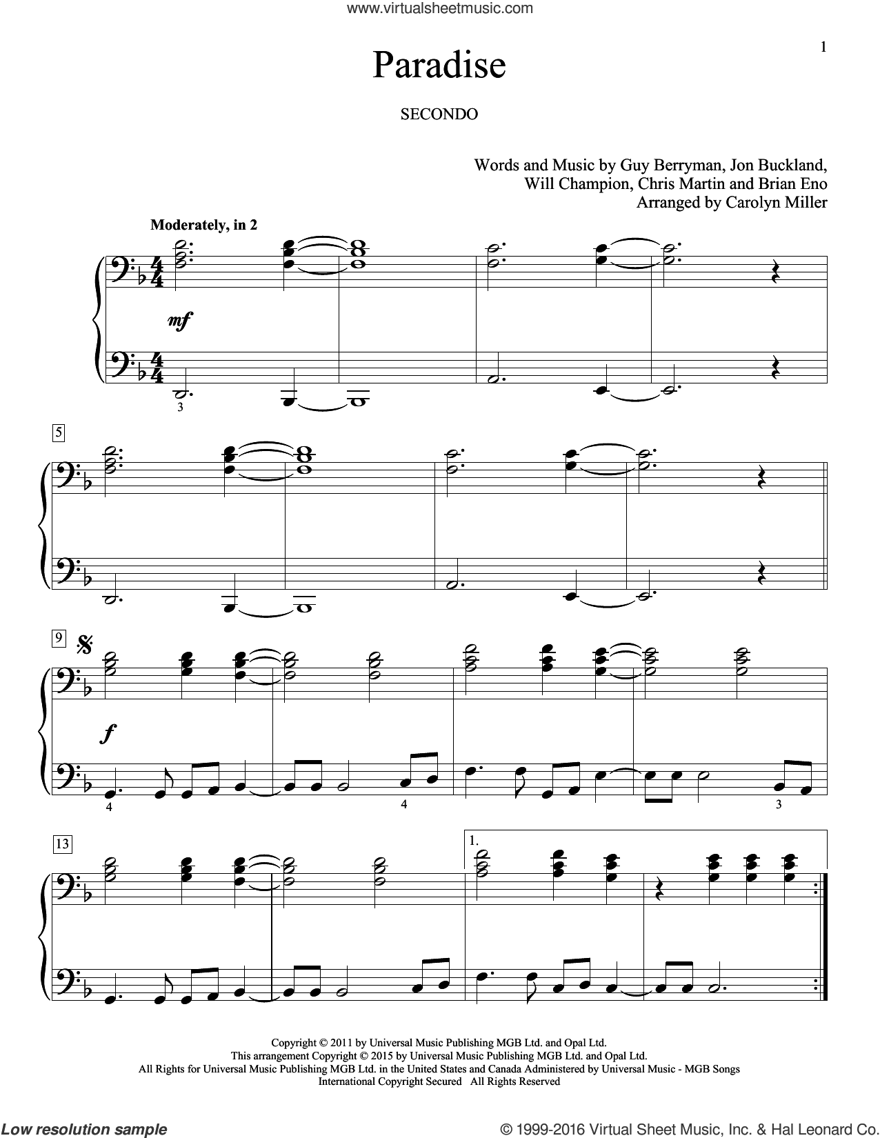 Paradise sheet music for piano four hands by Chris Martin, Carolyn Miller, Coldplay, Brian Eno, Guy Berryman and Will Champion, intermediate skill level