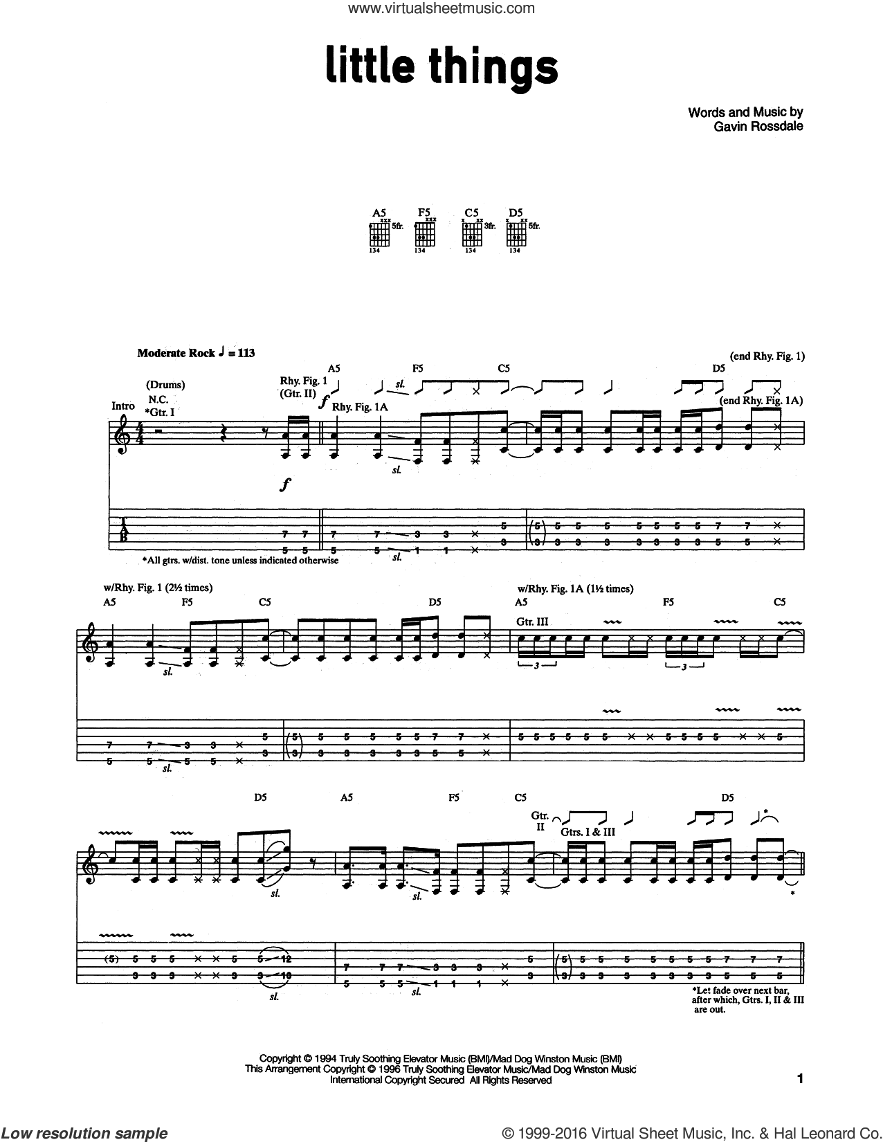 Little Things sheet music for guitar (tablature) by Gavin Rossdale. Score Image Preview.