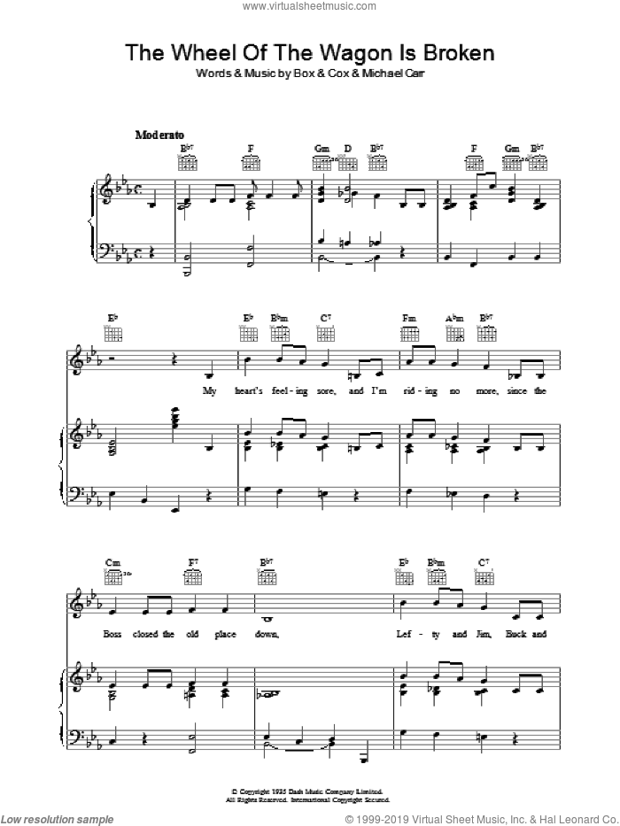 The Wheel Of The Wagon Is Broken sheet music for voice, piano or guitar by Michael Carr. Score Image Preview.