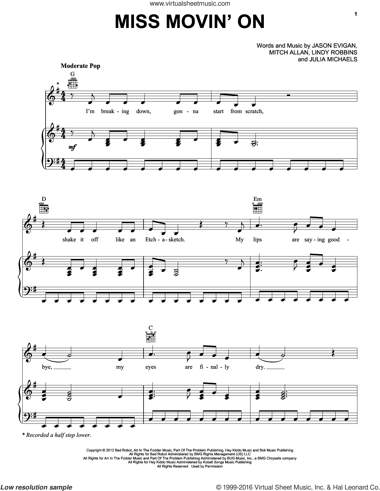 Miss Movin' On sheet music for voice, piano or guitar by Mitch Allan, Jason Evigan, Julia Michaels and Lindy Robbins. Score Image Preview.