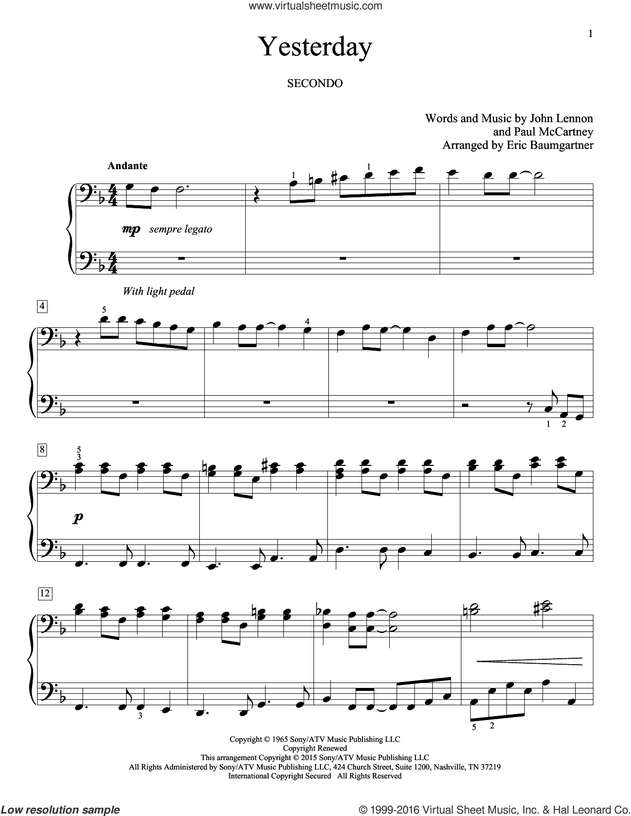Yesterday sheet music for piano four hands by John Lennon, Eric Baumgartner, The Beatles and Paul McCartney, intermediate. Score Image Preview.