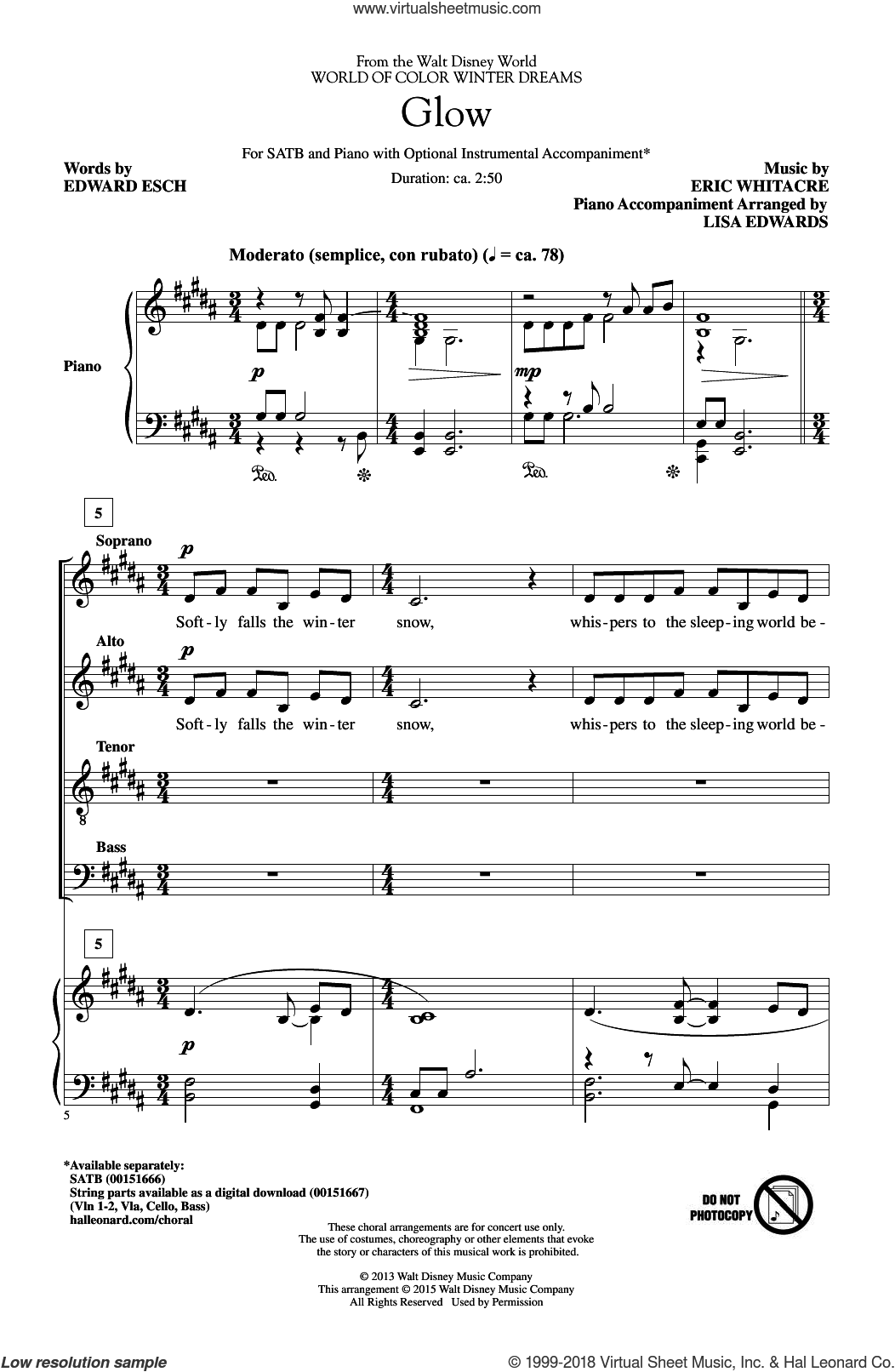 Glow sheet music for choir (SATB: soprano, alto, tenor, bass) by Eric Whitacre and Edward Esch, intermediate skill level