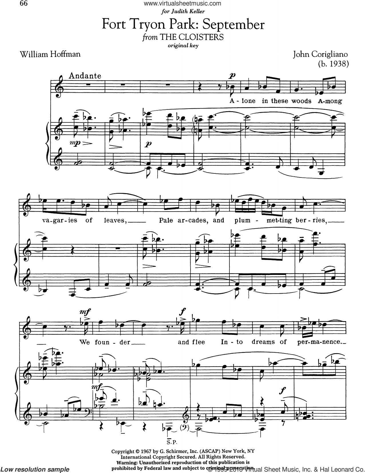 Fort Tryon Park: September sheet music for voice and piano (High ) by John Corigliano and William Hoffman. Score Image Preview.