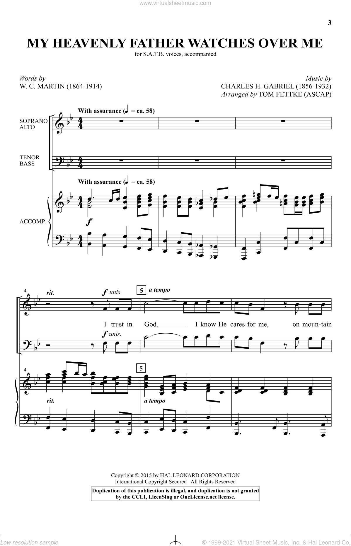 Gabriel My Heavenly Father Watches Over Me Sheet Music For Choir Satb Soprano Alto Tenor Bass