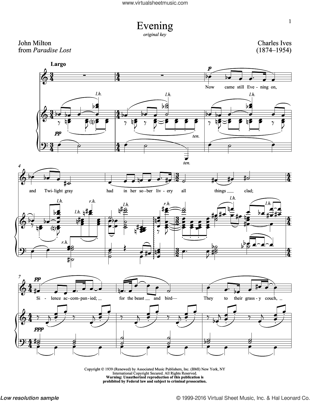 Evening sheet music for voice and piano (Low ) by John Milton, Richard Walters and Charles Ives. Score Image Preview.