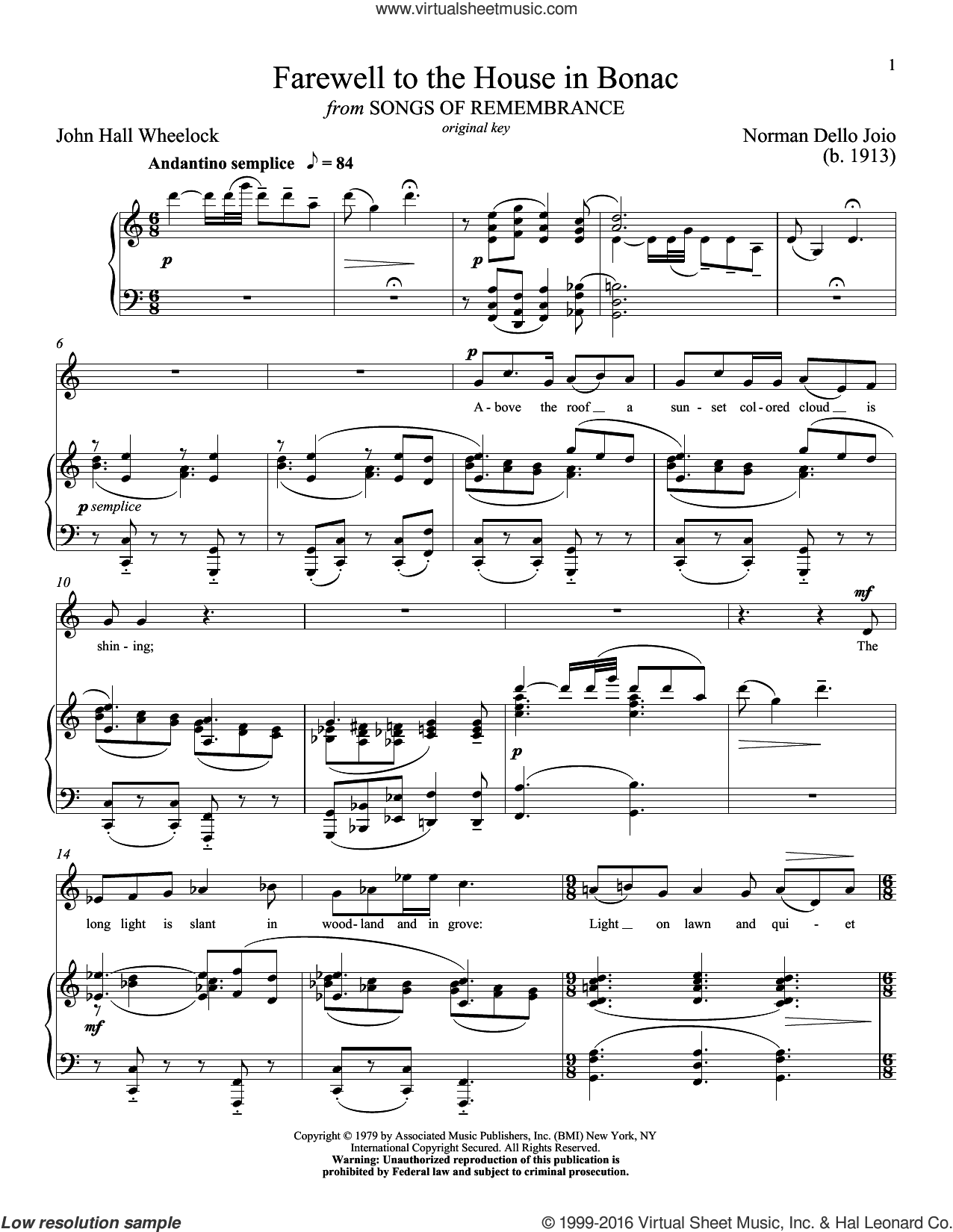 Farewell To The House In Bonac sheet music for voice and piano (Low ) by Norman Dello Joio, Richard Walters and John Hall Wheelock. Score Image Preview.