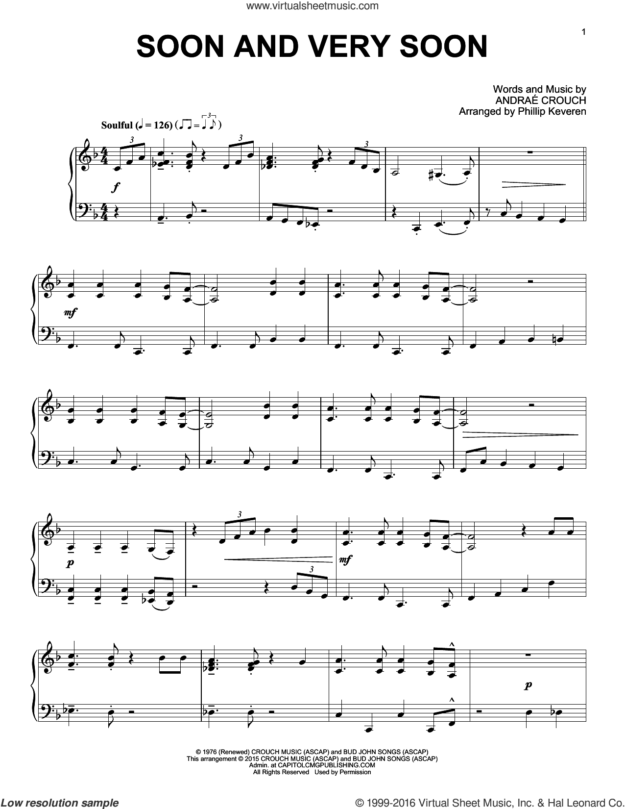 Soon And Very Soon sheet music for piano solo by Andrae Crouch and Phillip Keveren, intermediate skill level