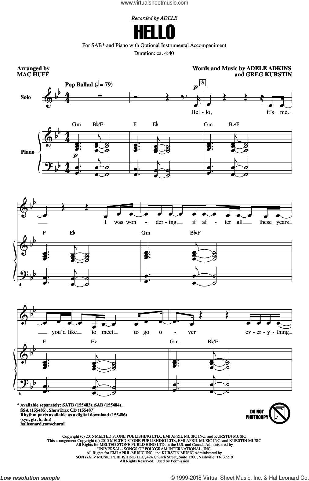 Hello sheet music for choir (SAB: soprano, alto, bass) by Mac Huff, Adele and Greg Kurstin, intermediate. Score Image Preview.