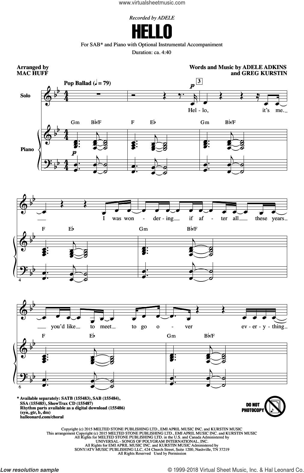 Huff - Hello sheet music for choir (SAB: soprano, alto, bass)
