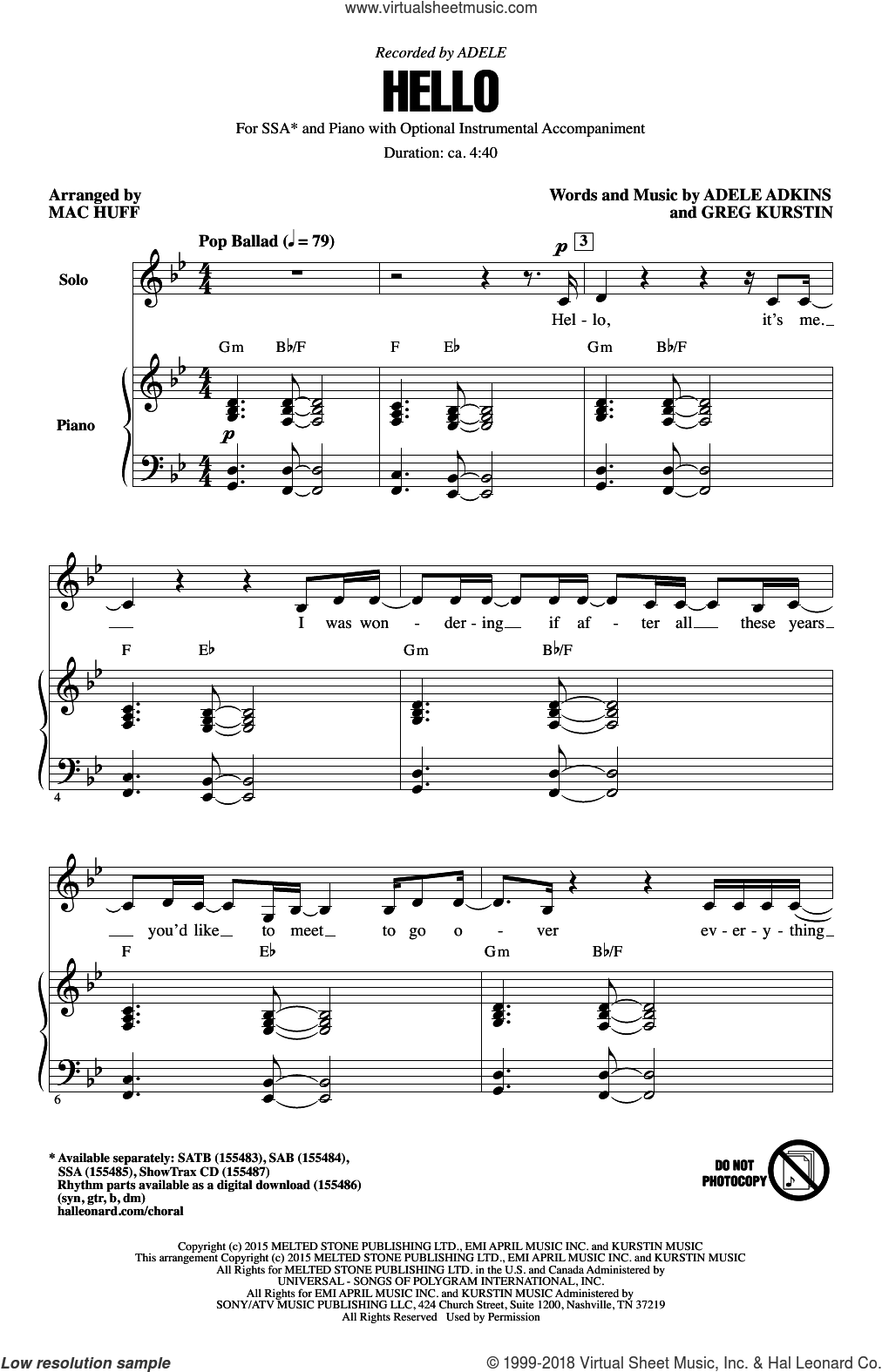Hello sheet music for choir (SSA: soprano, alto) by Mac Huff, Adele, Adele Adkins and Greg Kurstin, intermediate
