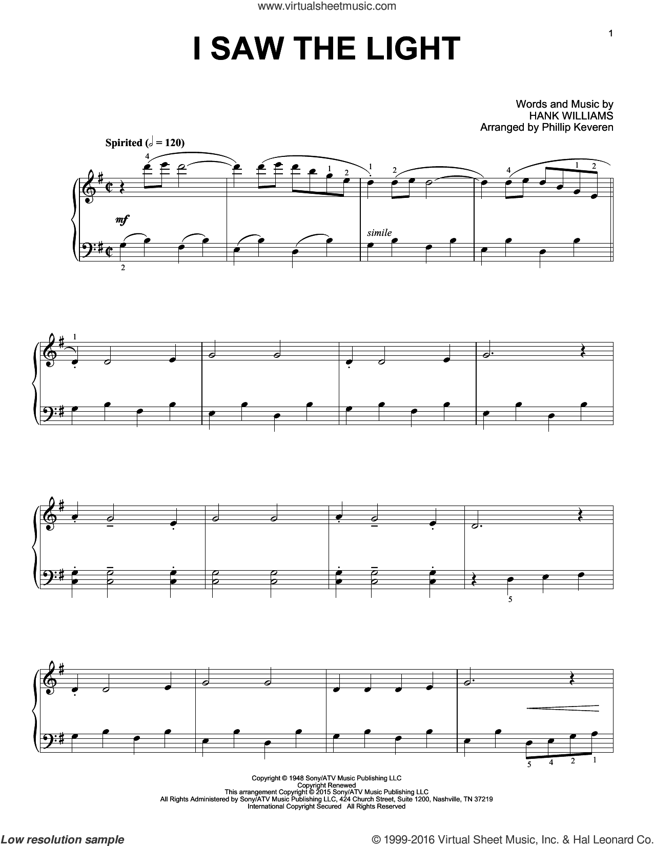 I Saw The Light sheet music for piano solo by Hank Williams and Phillip Keveren, intermediate skill level