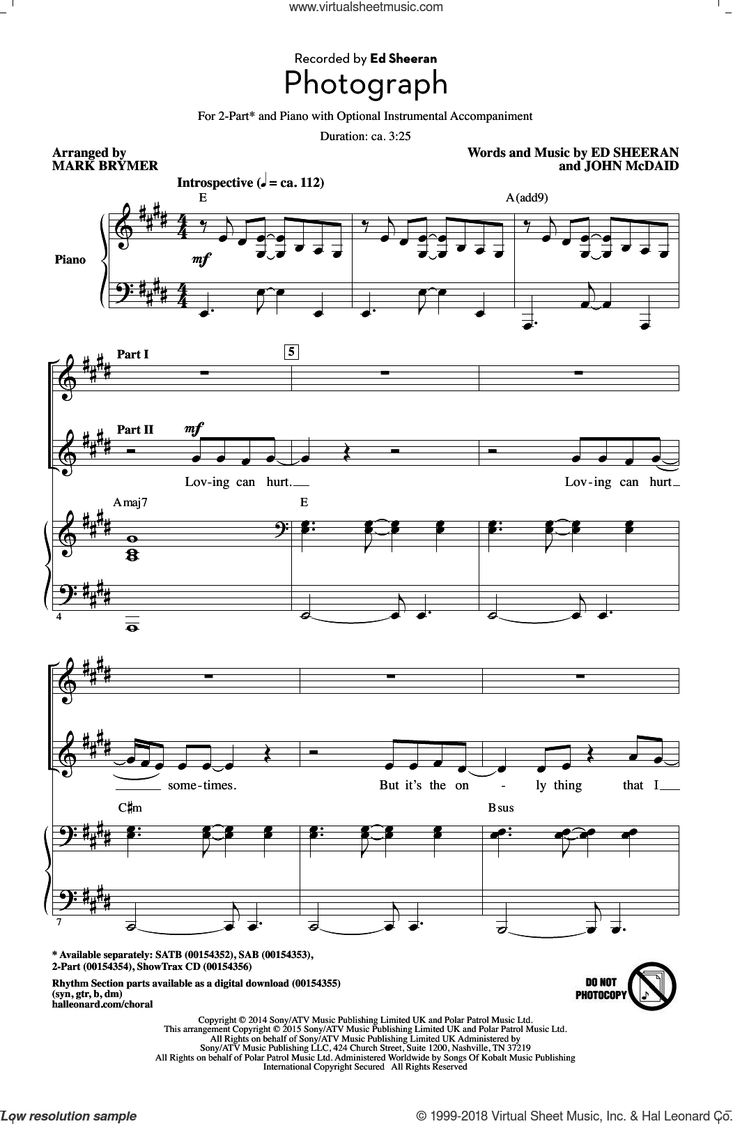 Photograph sheet music for choir and piano (duets) by Mark Brymer