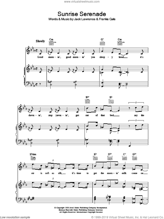 Sunrise Serenade sheet music for voice, piano or guitar by Jack Lawrence and Frankie Carle. Score Image Preview.