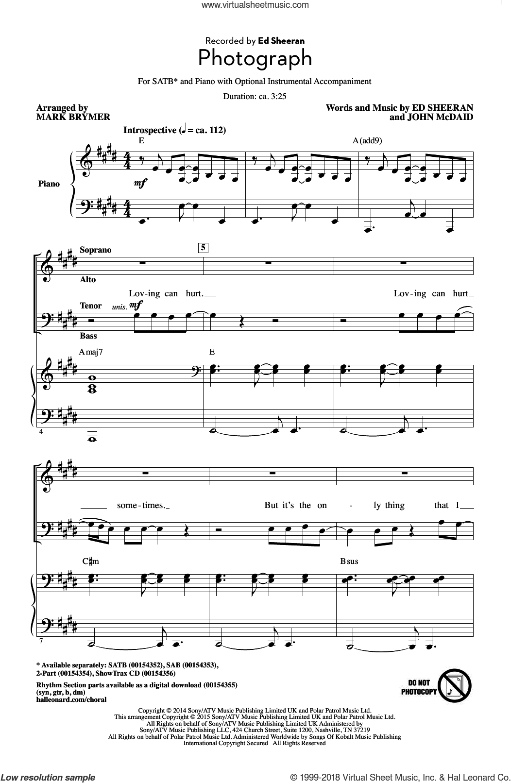 Photograph sheet music for choir (SATB) by Ed Sheeran and Mark Brymer. Score Image Preview.