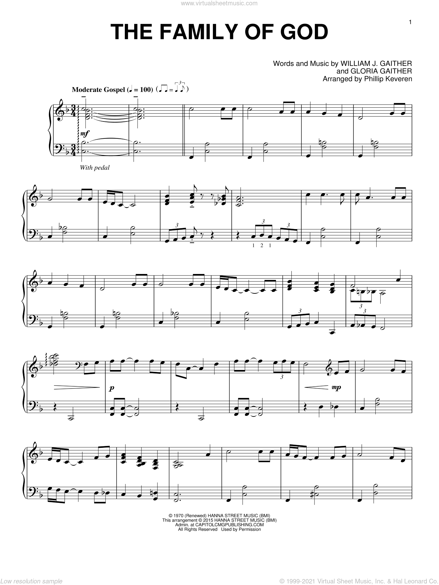 The Family Of God sheet music for piano solo by Gloria Gaither, Phillip Keveren and William J. Gaither, intermediate skill level
