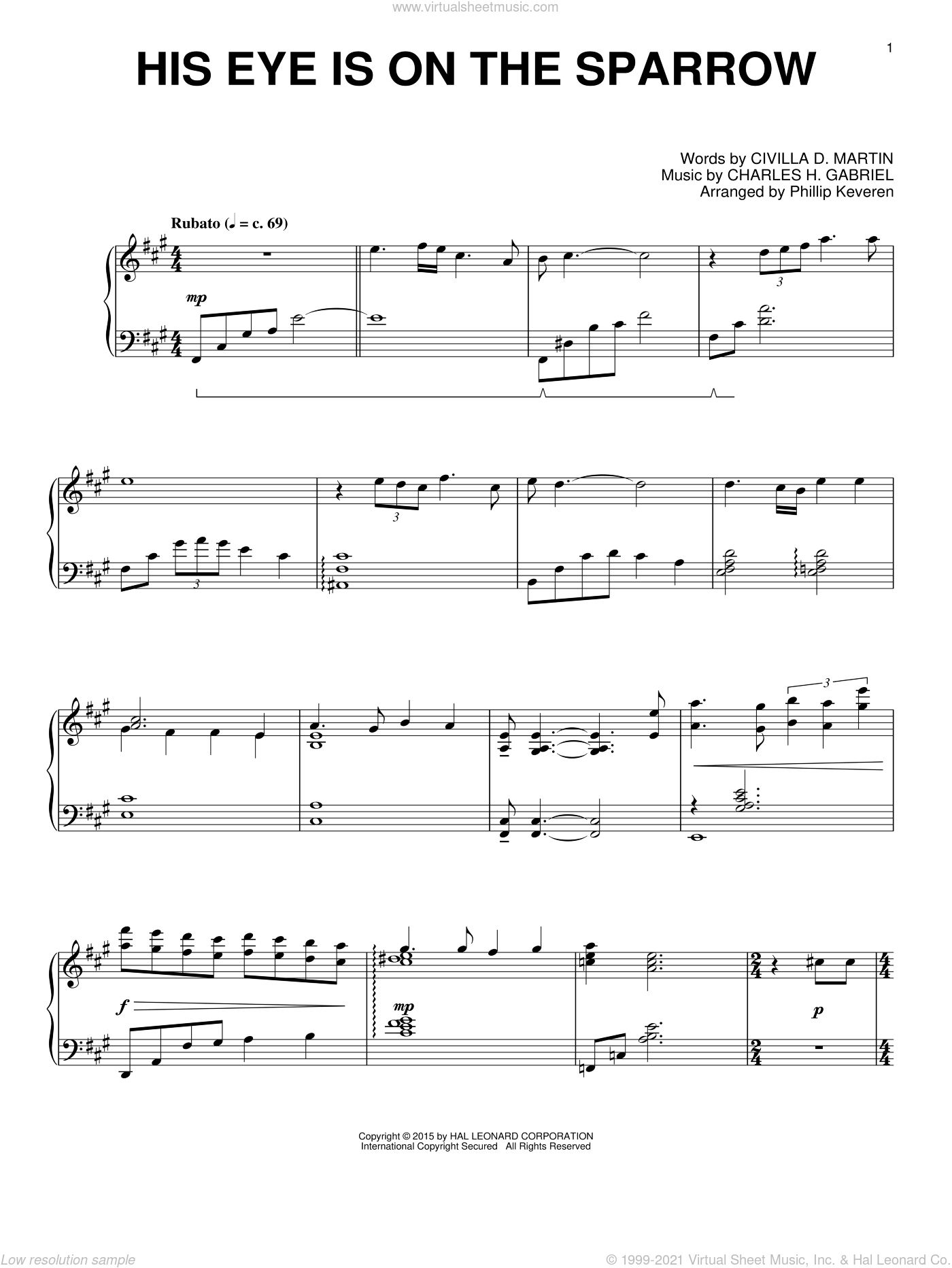 His Eye Is On The Sparrow sheet music for piano solo by Charles H. Gabriel, Phillip Keveren and Civilla D. Martin, intermediate skill level