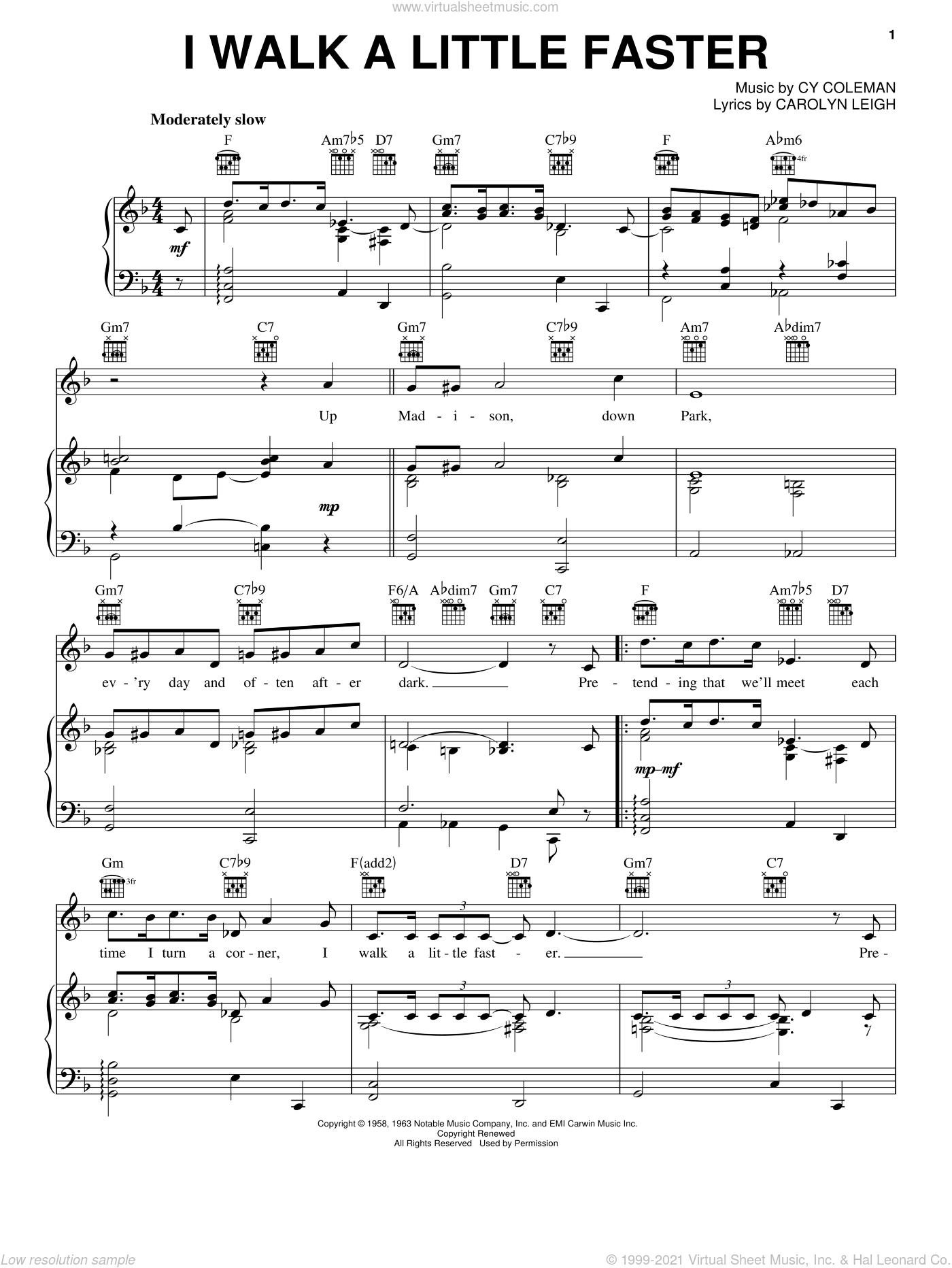 I Walk A Little Faster sheet music for voice, piano or guitar by Cy Coleman and Carolyn Leigh, intermediate. Score Image Preview.