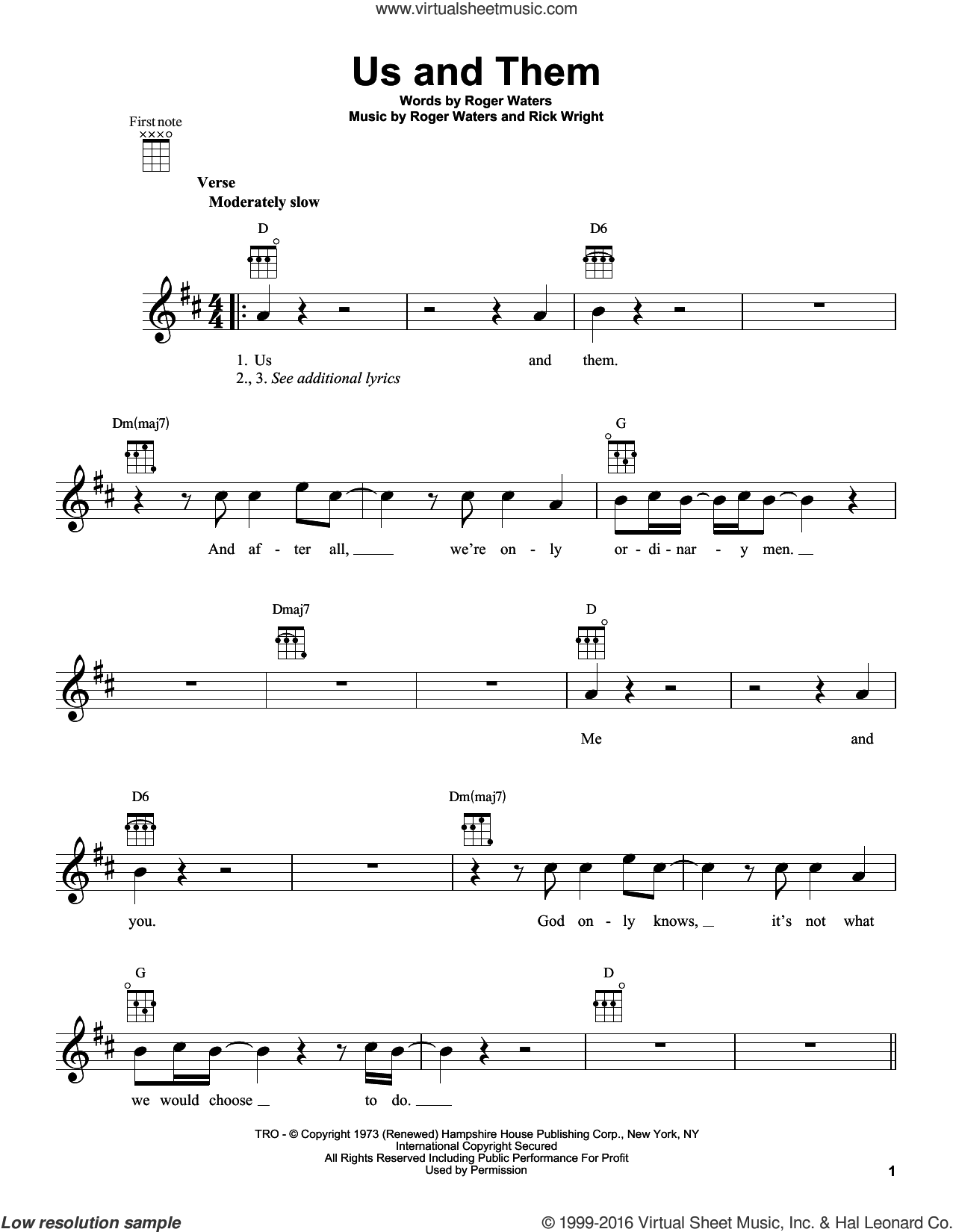 Us And Them sheet music for ukulele by Pink Floyd, Richard Wright and Roger Waters, intermediate. Score Image Preview.