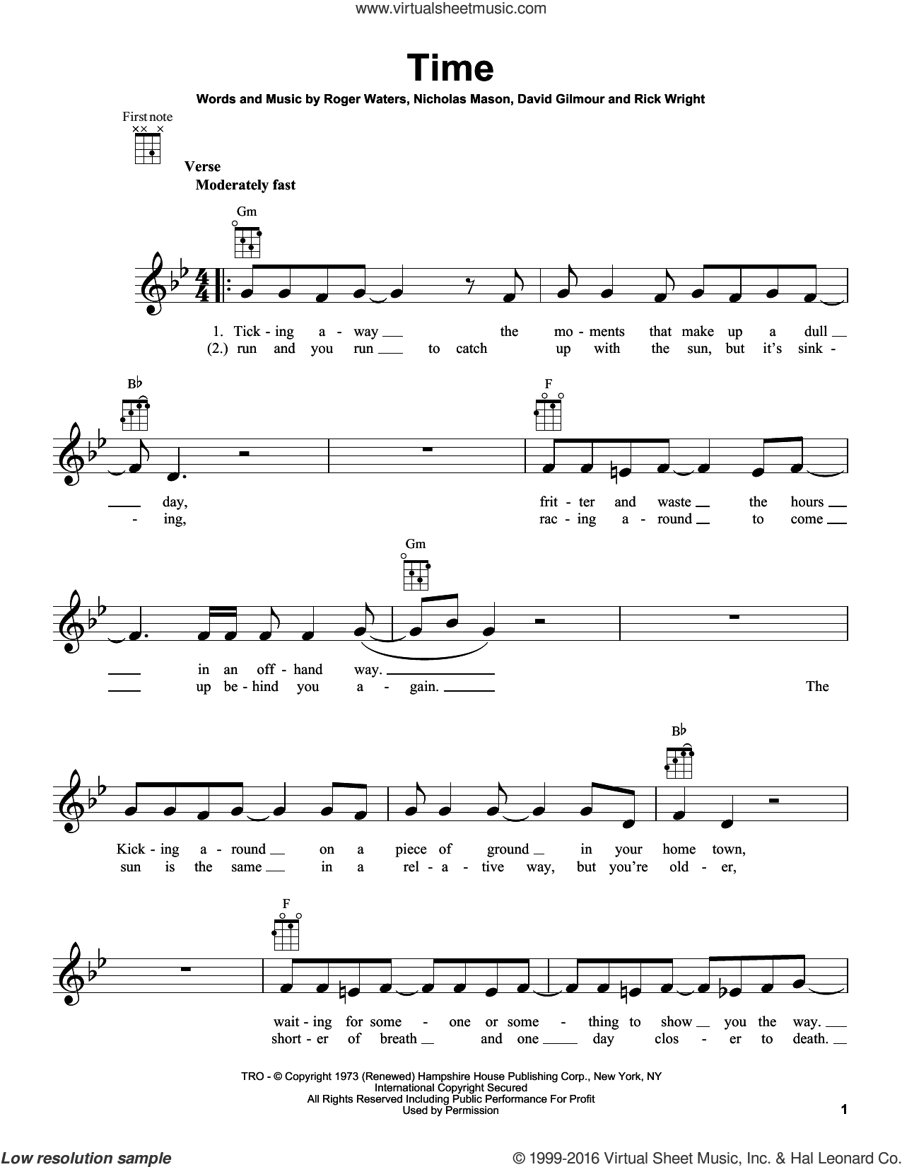 Time sheet music for ukulele by Pink Floyd, David Gilmour, Richard Wright and Roger Waters. Score Image Preview.