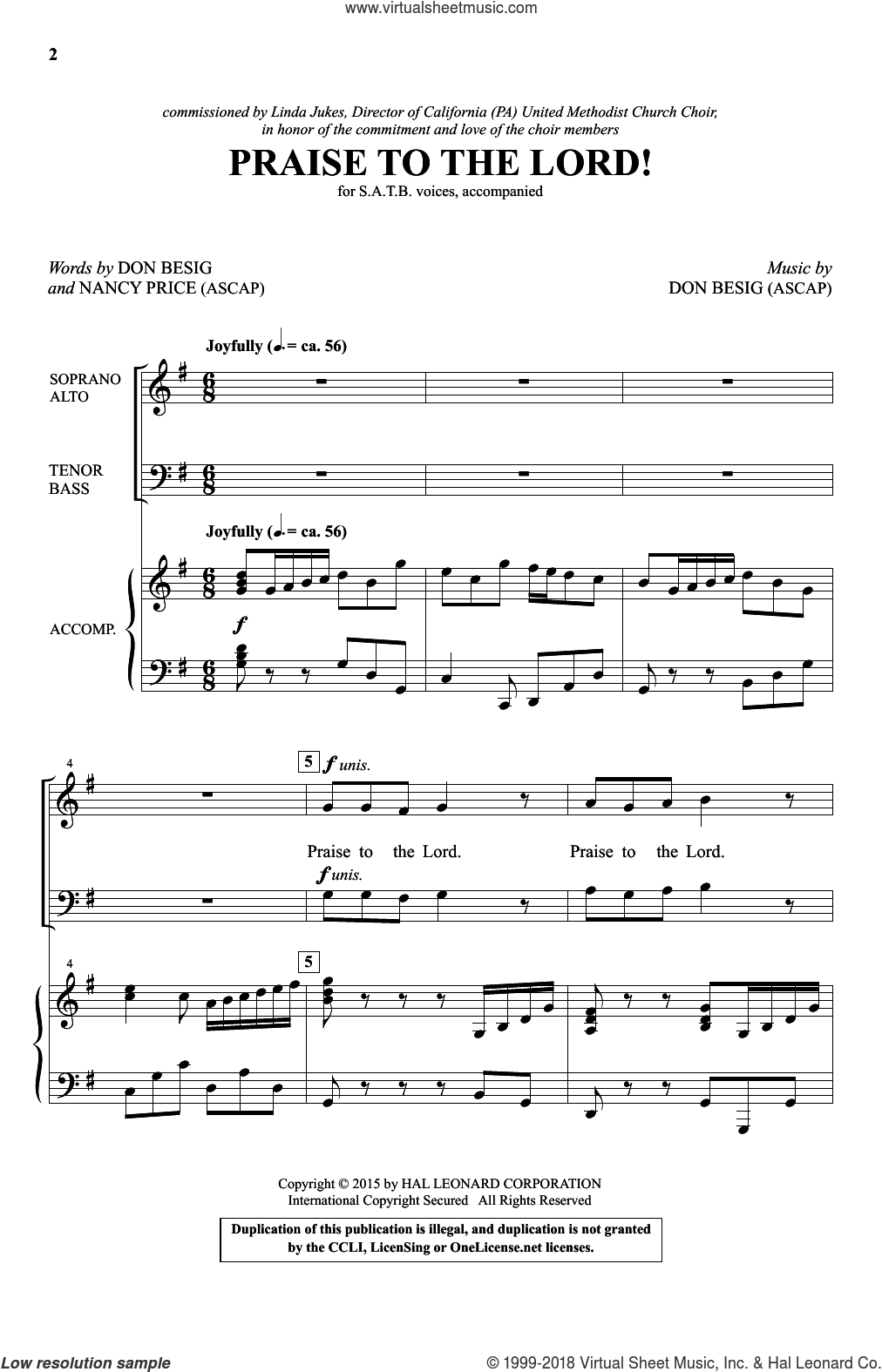 Praise To The Lord! sheet music for choir (SATB) by Ludwig van Beethoven, Don Besig and Nancy Price, intermediate choir (SATB). Score Image Preview.