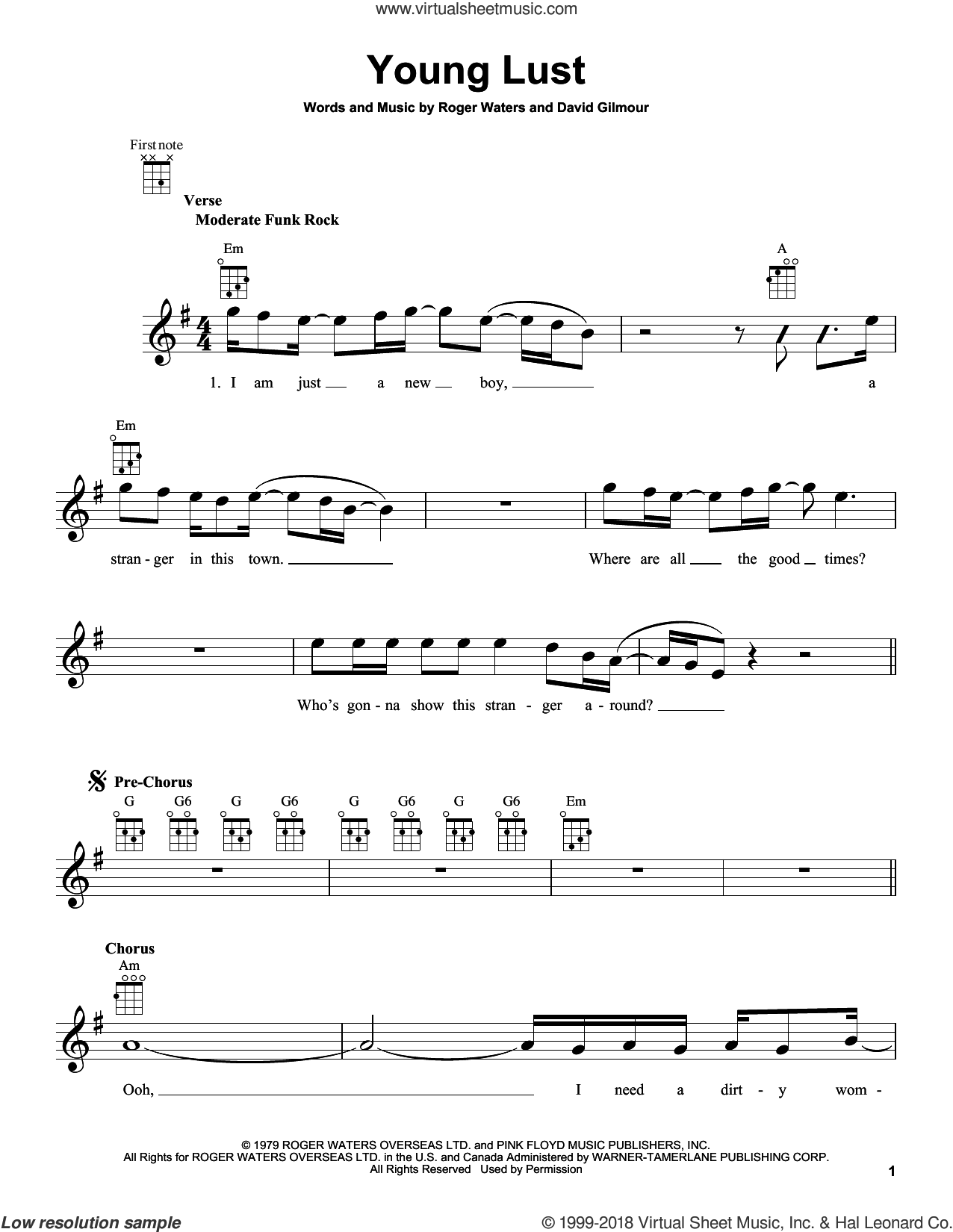 Young Lust sheet music for ukulele by Pink Floyd, David Gilmour and Roger Waters, intermediate skill level