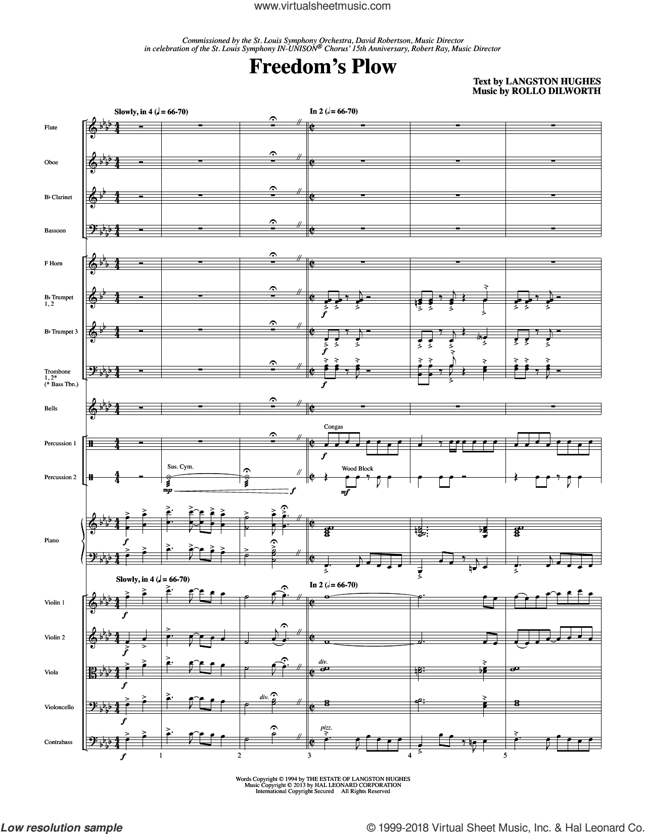 Freedom's Plow (COMPLETE) sheet music for orchestra/band by Rollo Dilworth and Langston Hughes, intermediate skill level