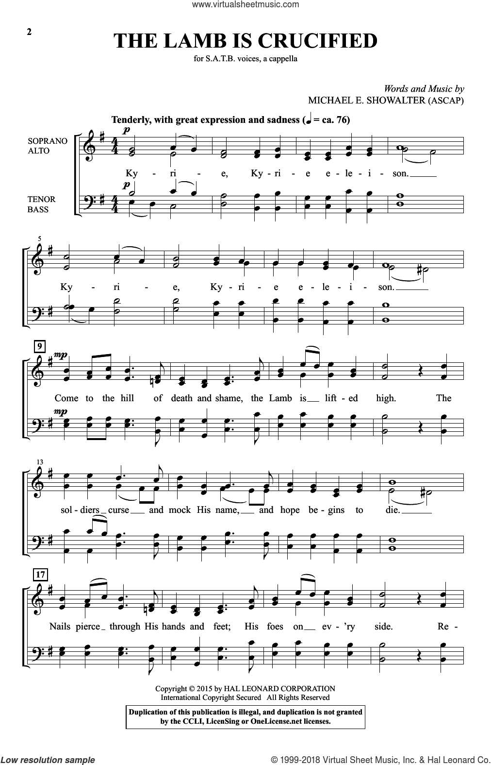 The Lamb Is Crucified sheet music for choir (SATB: soprano, alto, tenor, bass) by Michael E. Showalter, intermediate. Score Image Preview.