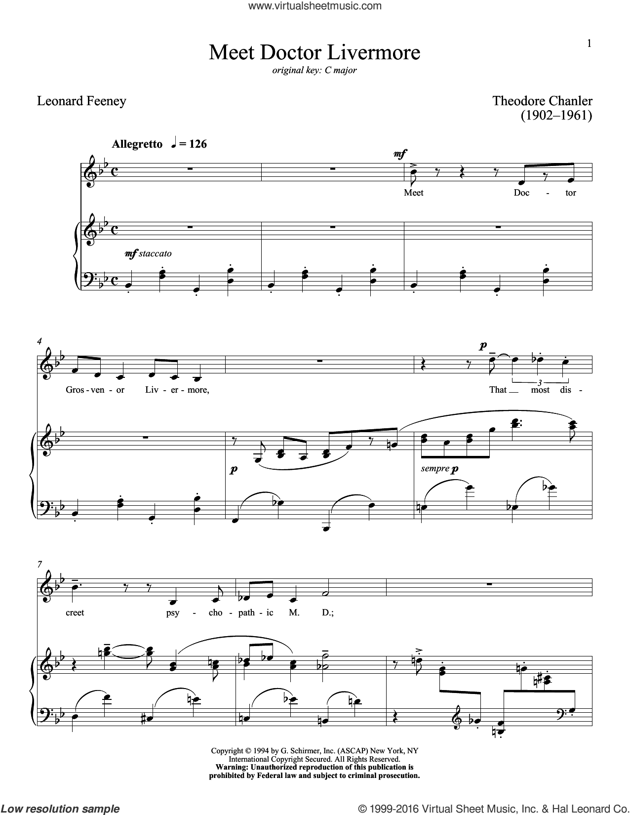 Meet Doctor Livermore sheet music for voice and piano (Low ) by Leonard Feeney, Richard Walters and Theodore Chanler, classical score, intermediate. Score Image Preview.