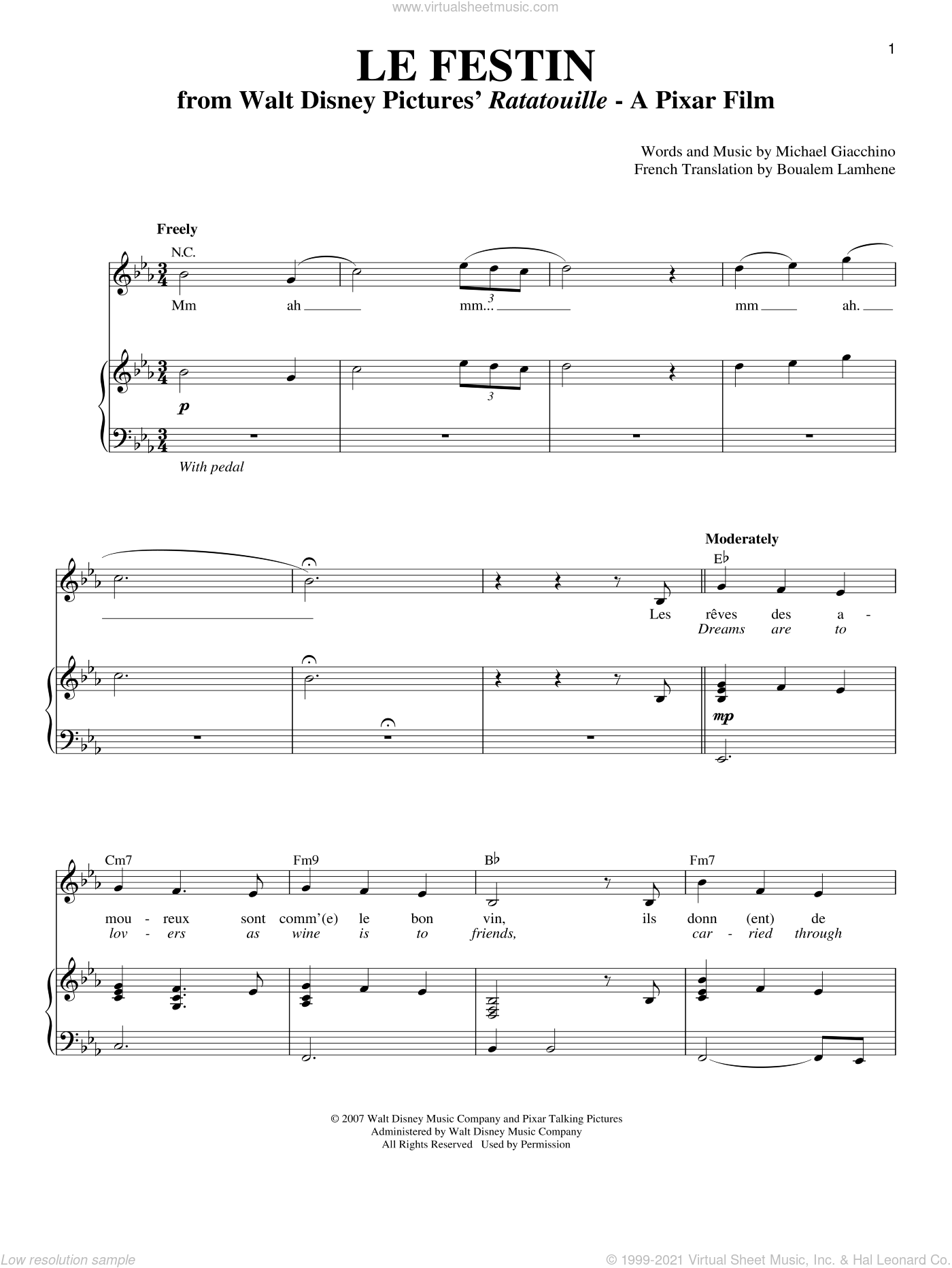 Le Festin sheet music for voice and piano by Michael Giacchino and Boualem Lamhene, intermediate skill level