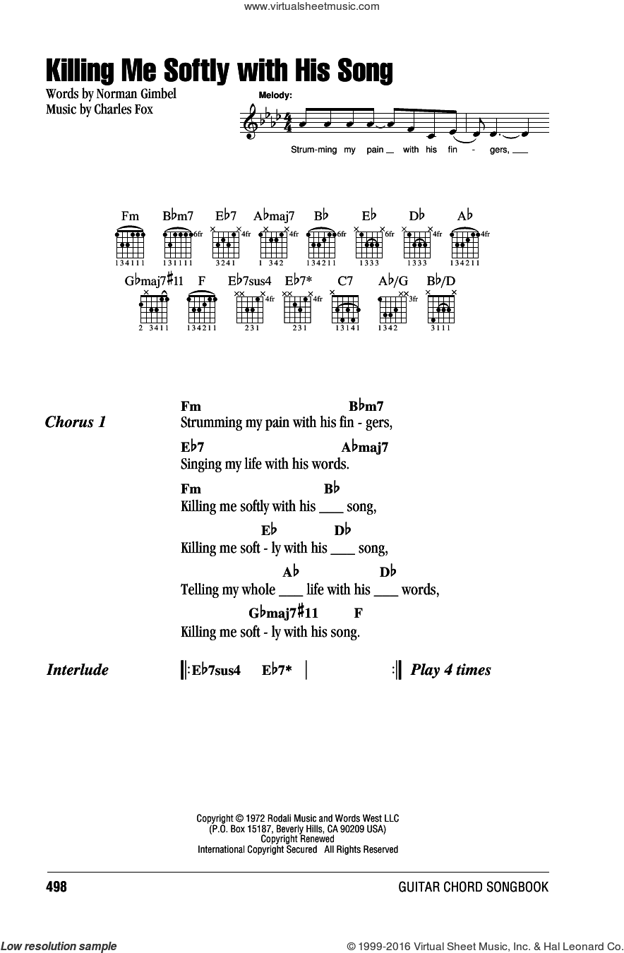 Killing Me Softly With His Song sheet music for guitar (chords) by Roberta Flack, The Fugees, Charles Fox and Norman Gimbel, intermediate skill level