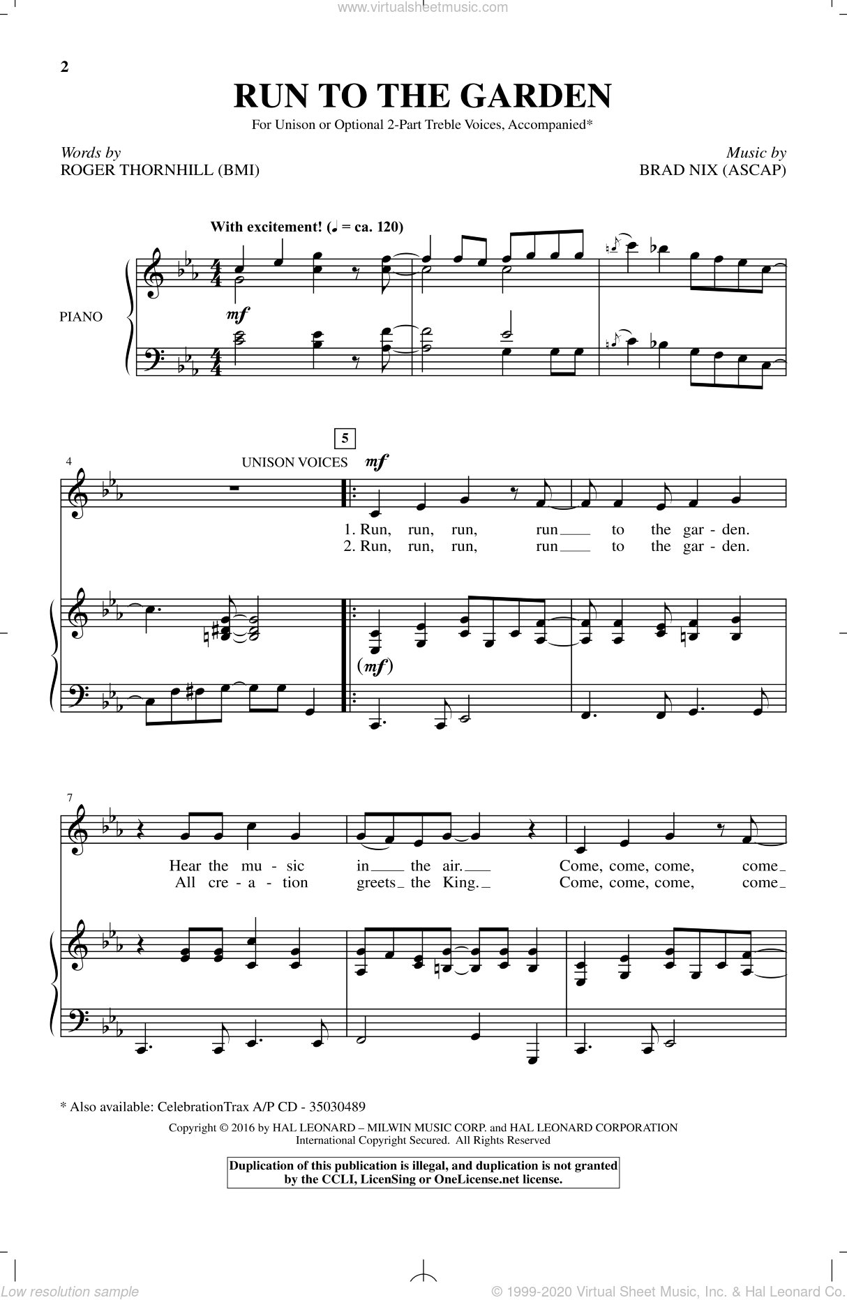 Run To The Garden sheet music for choir by Brad Nix and Roger Thornhill, intermediate skill level