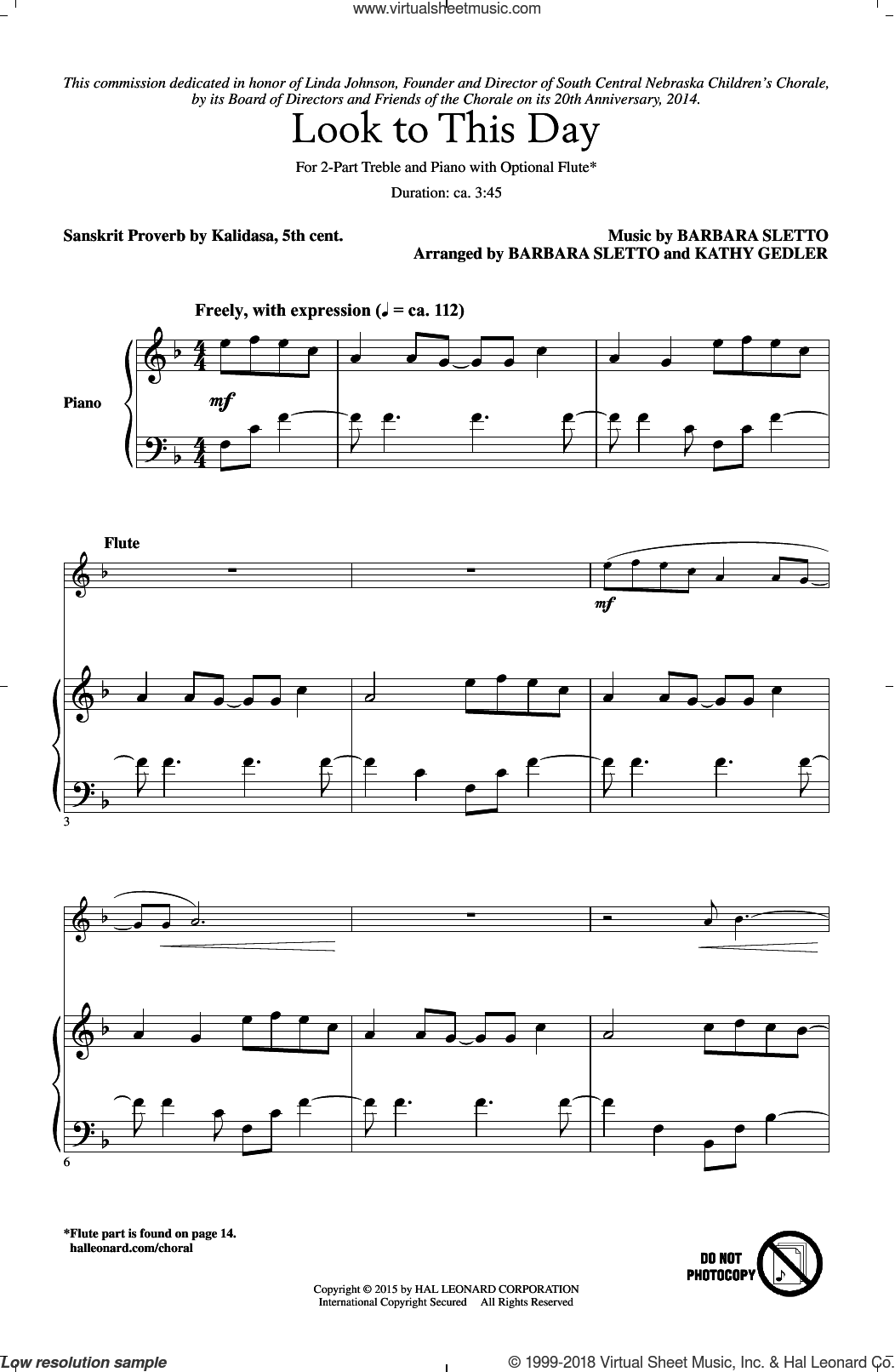 Look To This Day sheet music for choir and piano (duets) by Sanskrit Proverb. Score Image Preview.
