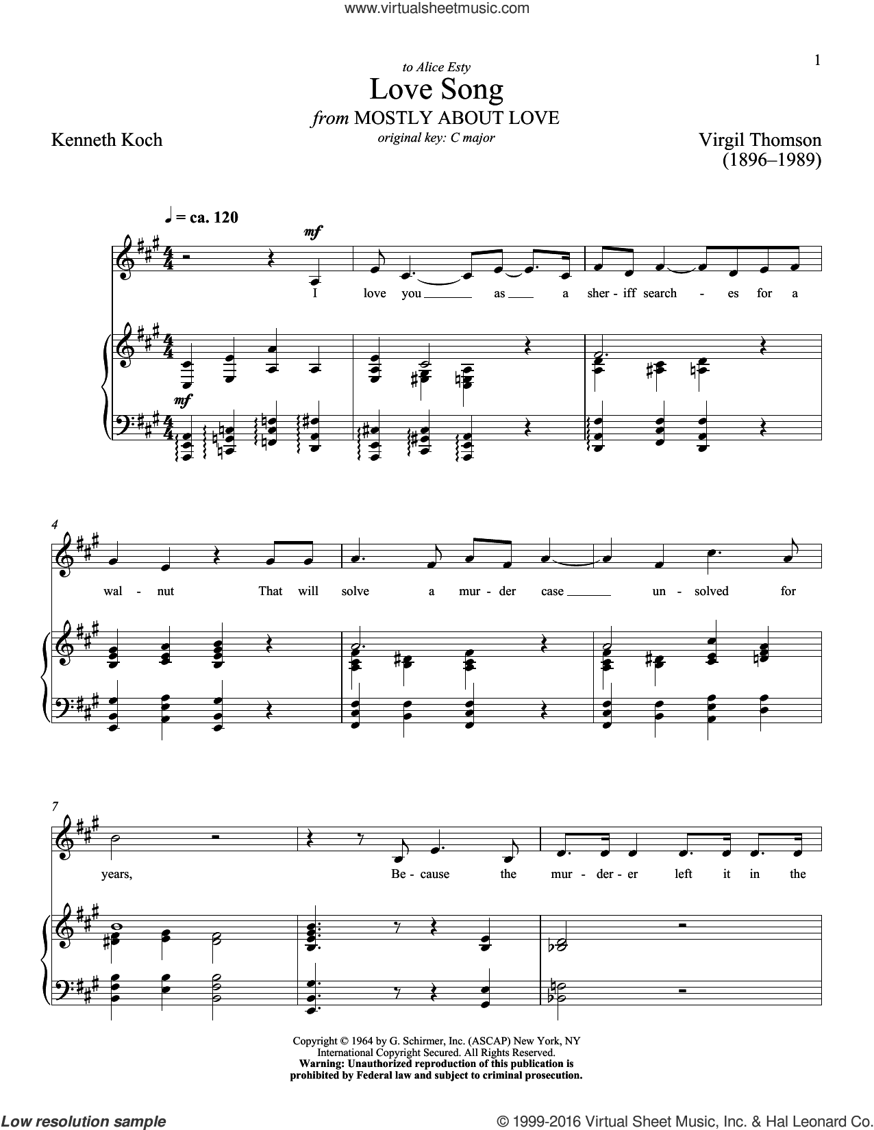 Love Song sheet music for voice and piano (Low ) by Kenneth Koch, Richard Walters and Virgil Thomson. Score Image Preview.