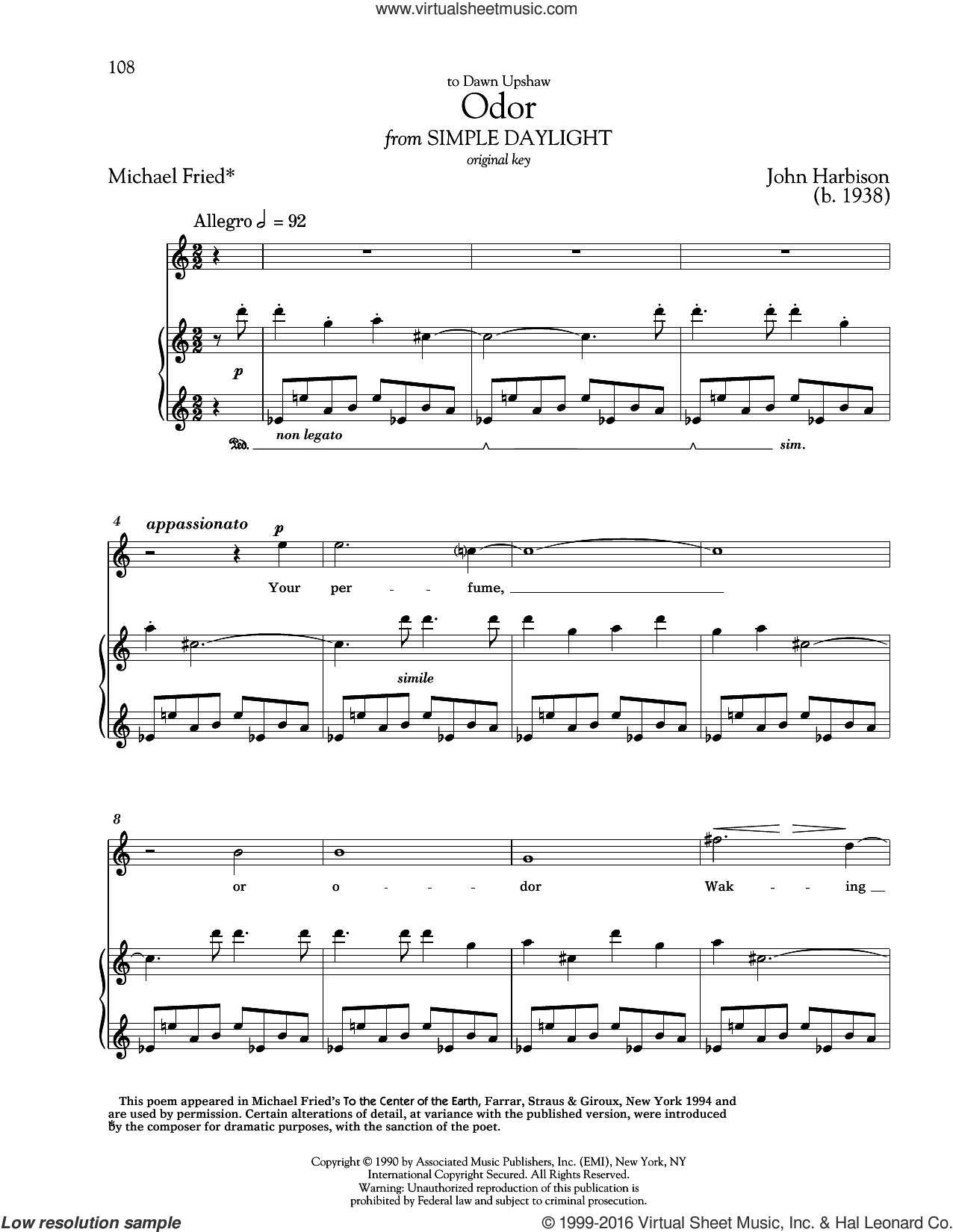 Odor sheet music for voice and piano (High ) by John Harbison, Richard Walters and Michael Fried, classical score, intermediate. Score Image Preview.