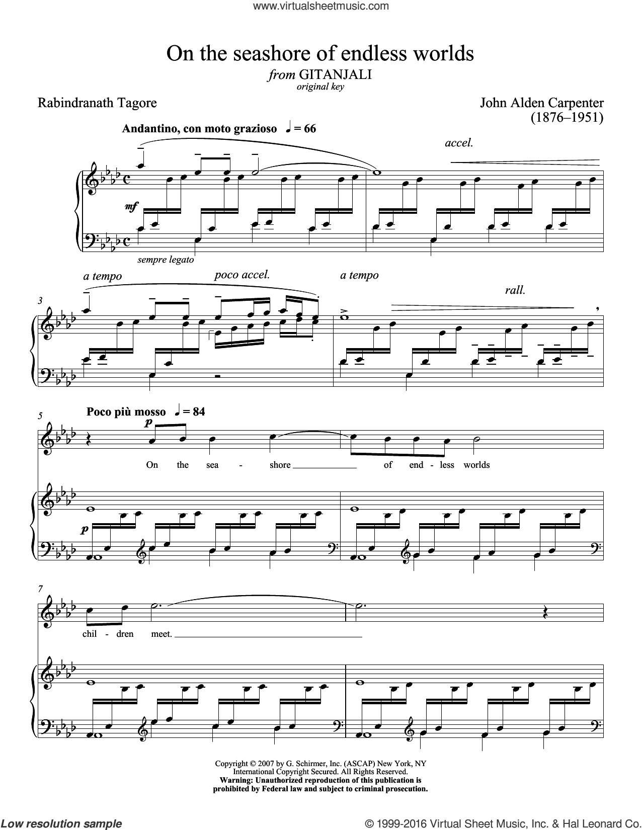 On The Seashore Of Endless Worlds sheet music for voice and piano (Low ) by Rabindranath Tagore and Richard Walters. Score Image Preview.
