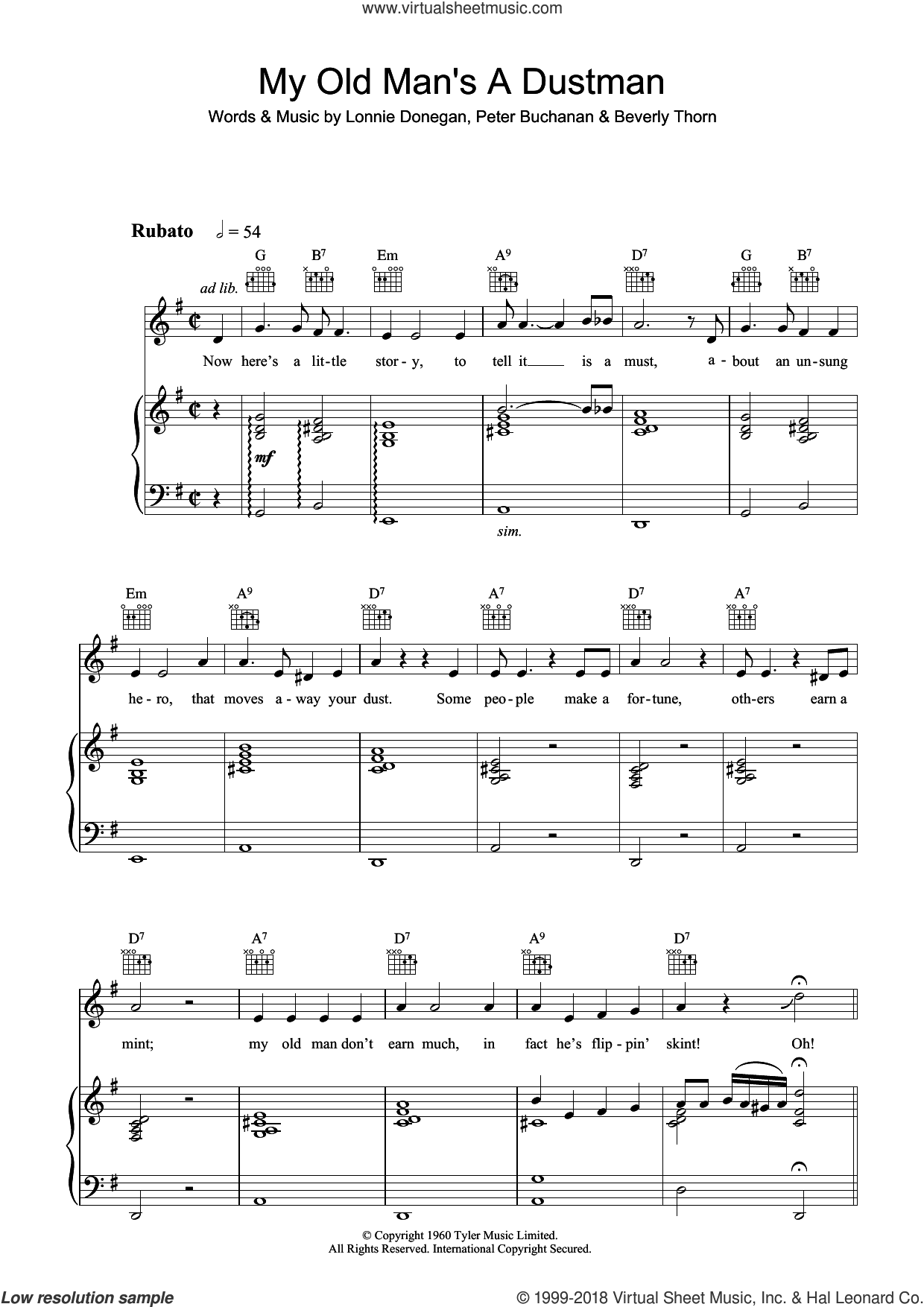 My Old Man's A Dustman sheet music for voice, piano or guitar by Lonnie Donegan, Beverly Thorn and Peter Buchanan, intermediate skill level